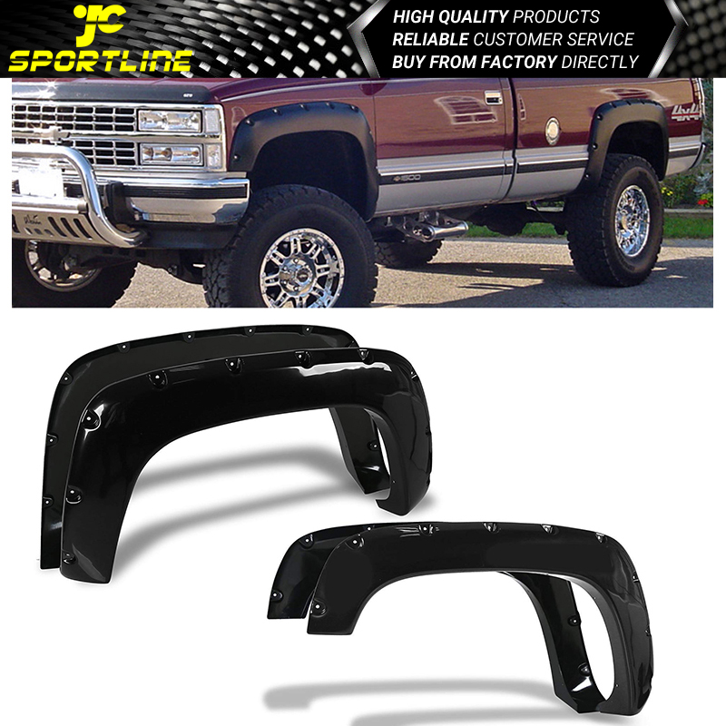 GM C//K Black Smooth Pocket Riveted Style Fender Flares 1988-1998 Chevy