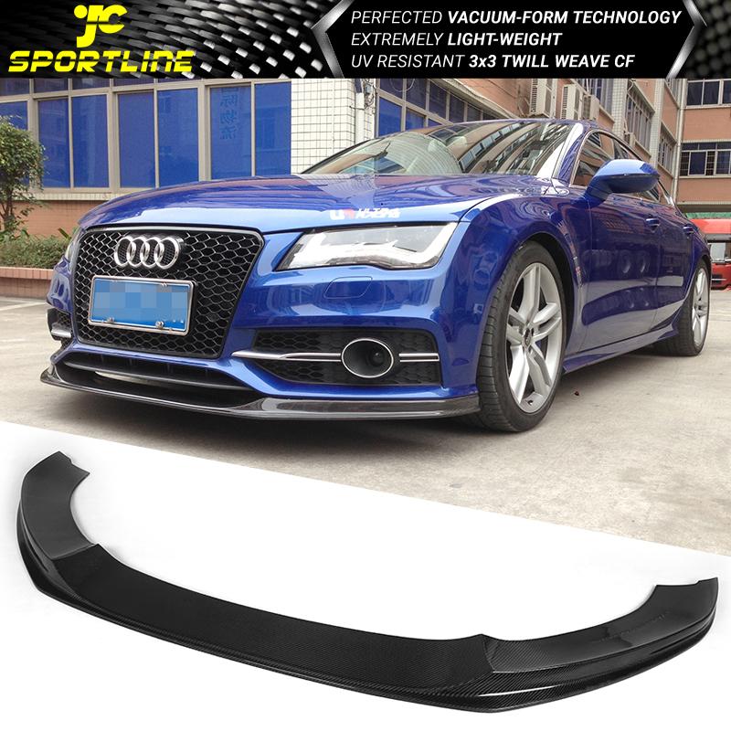 Fits 12 15 Audi A7 4g8 Sedan Kc Style Front Bumper Lip Carbon