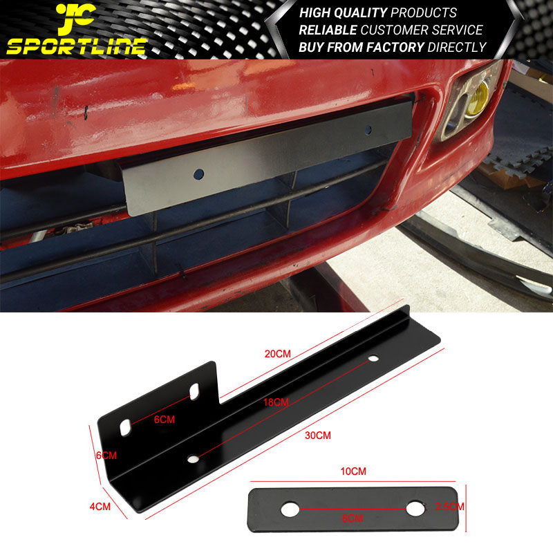 Universal Jdm Front Adjustable Relocator License Plate Adapters Brackets Kit Red