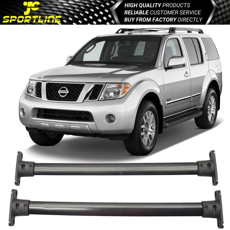 fit 2005-2012 Nissan Pathfinder Black Front Rear Roof Top Rack Cross Bar
