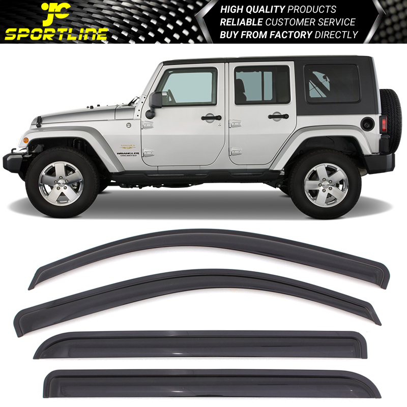 Ash Grey Outside Mount JDM Vent Visors Deflector 4pcs For Jeep Wrangler 07-16