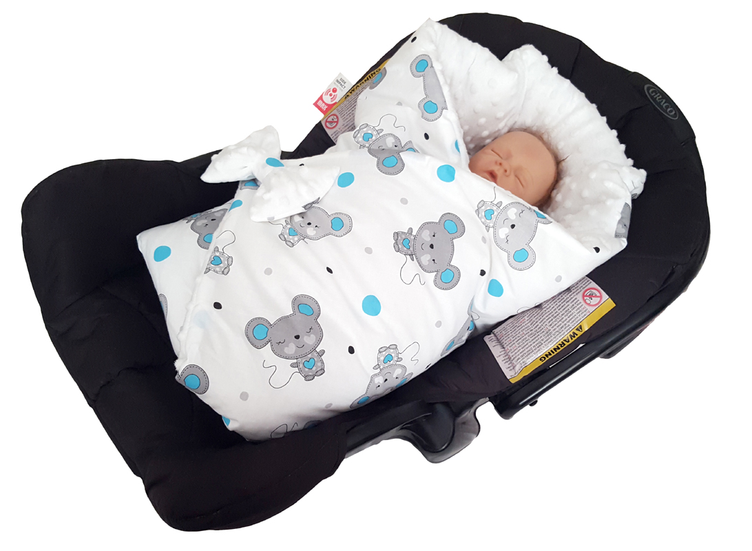 BlueberryShop Minky Reversible For CAR SEAT Swaddle Wrap