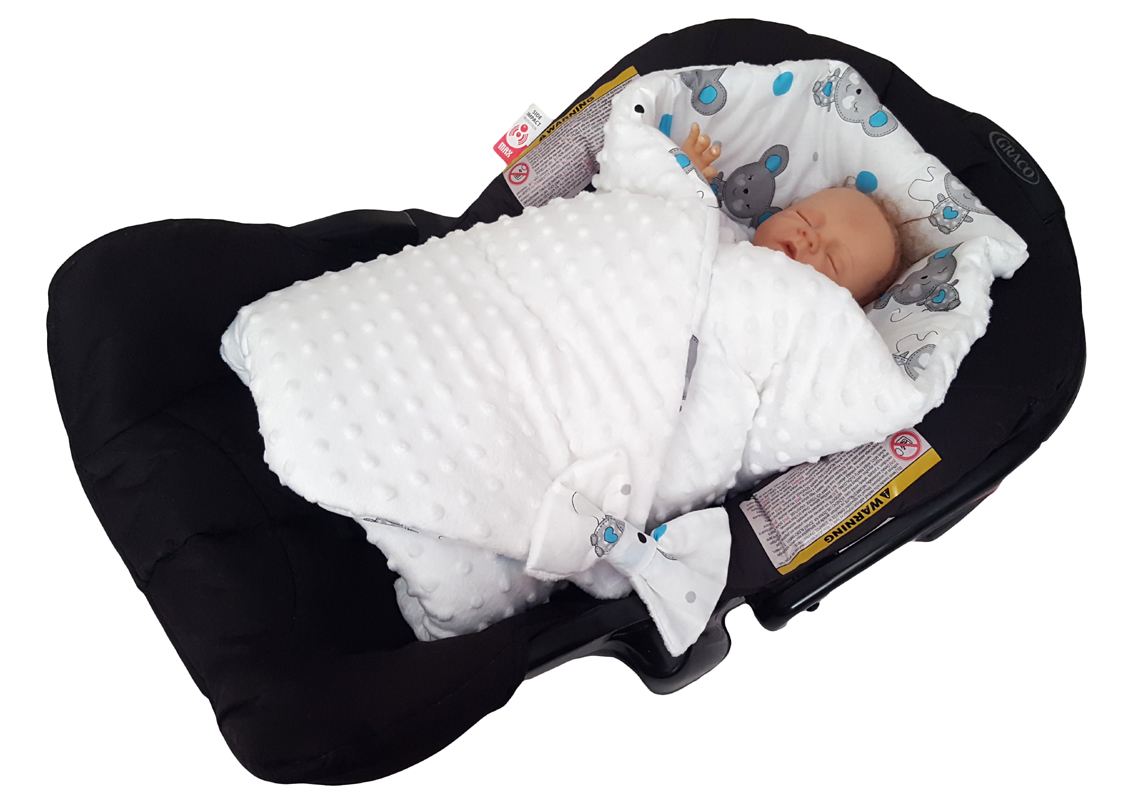 Blueberryshop Minky Reversible For Car Seat Swaddle Wrap Blanket