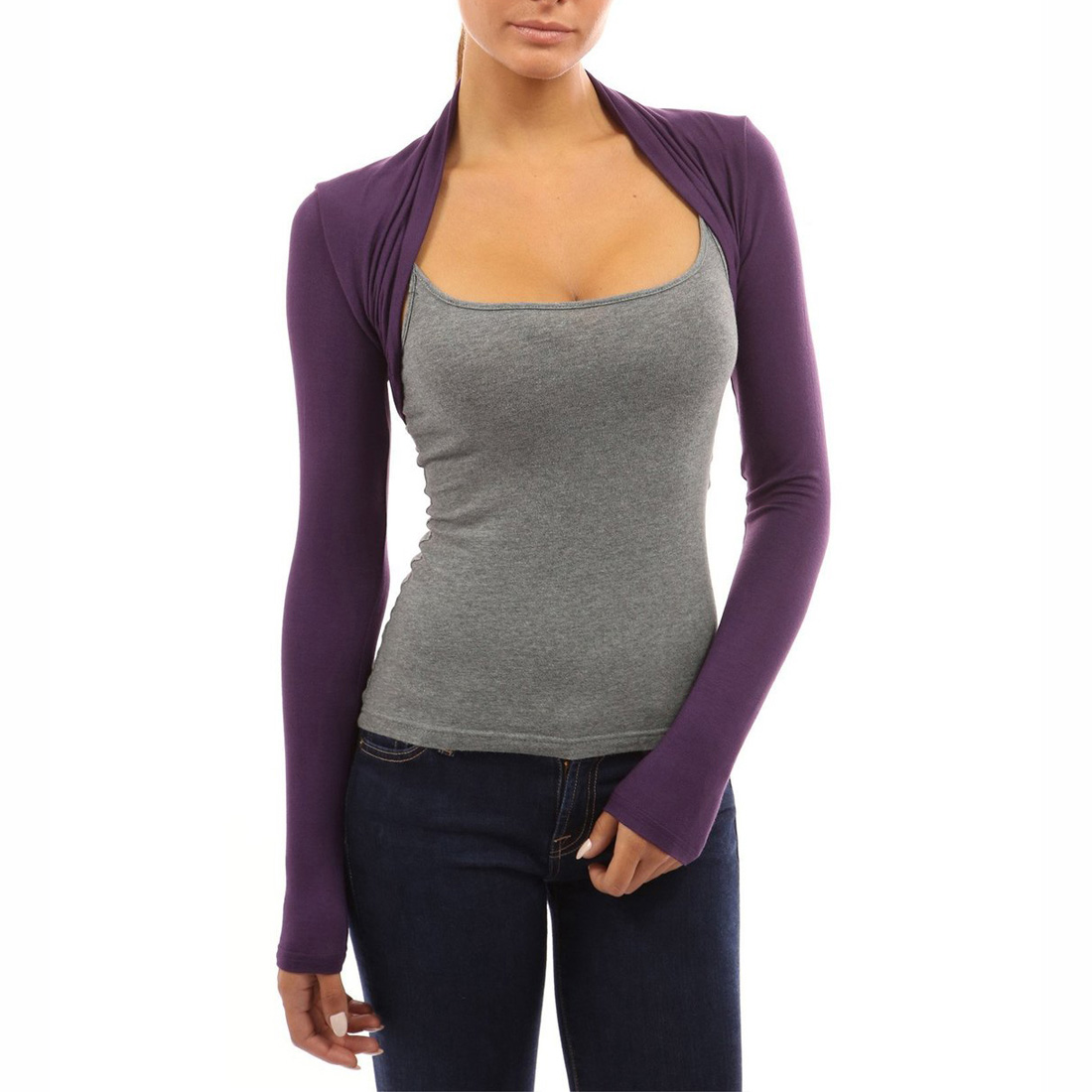 Womens Long Sleeve Bolero Shrug Knit Stretch Cropped Cardigan Top ...