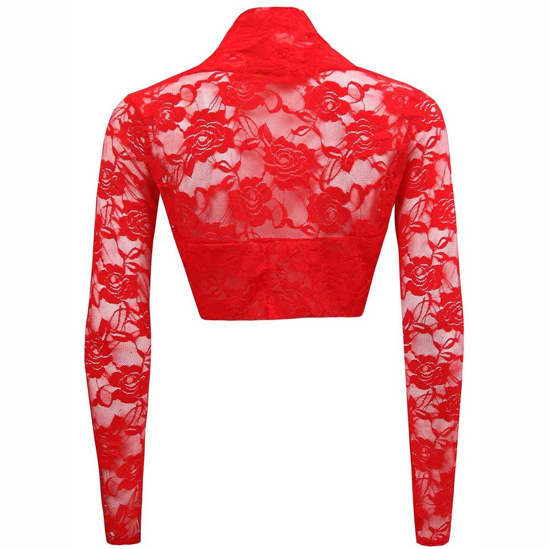 Womens Sheer Mesh Floral Lace Long Sleeve Shrug Bolero Cardigan ...