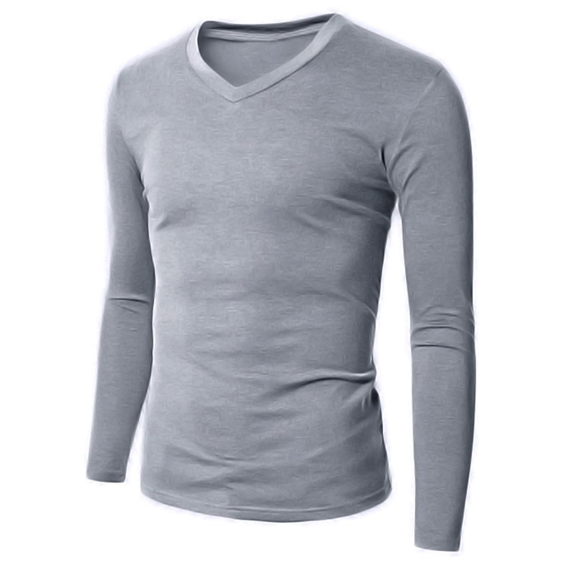 100% Cotton Mens Long Sleeve Plain T-Shirt Slim Fit Causal Shirts ...