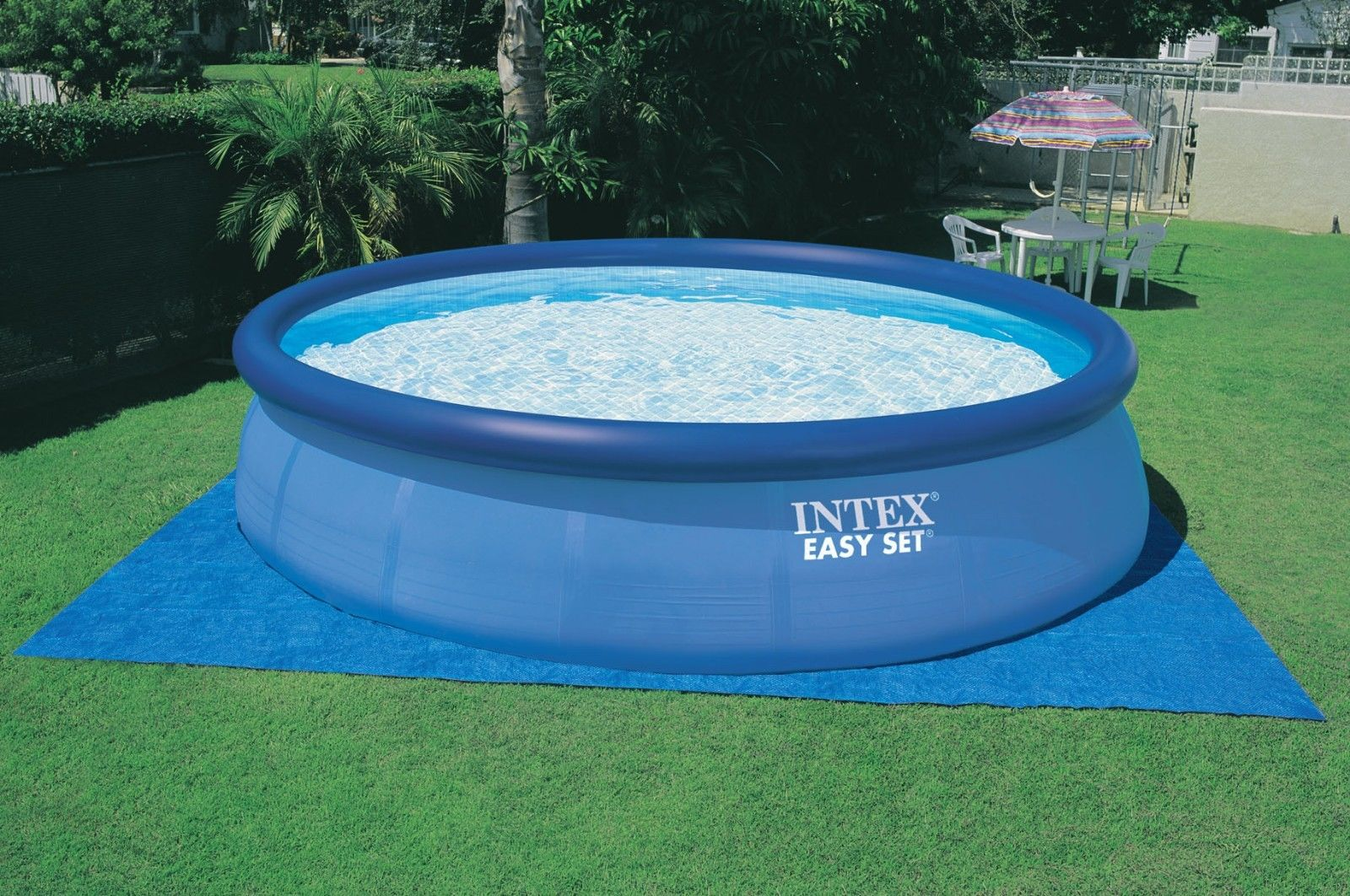 Intex 15 x 42 easy set above ground swimming pool package for Ground swimming pools