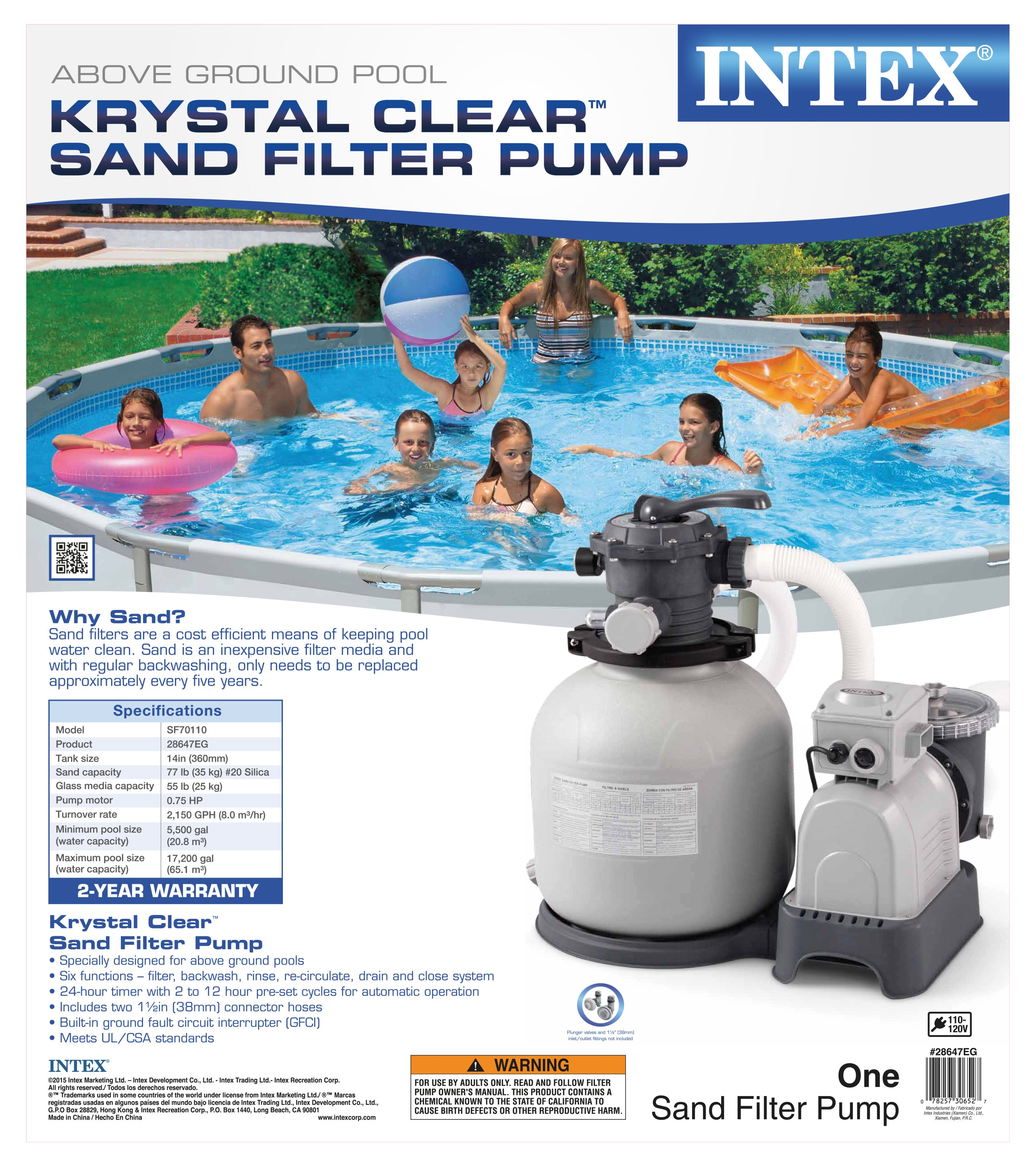 Intex Krystal Clear 2800 Gph Above Ground Swimming Pool