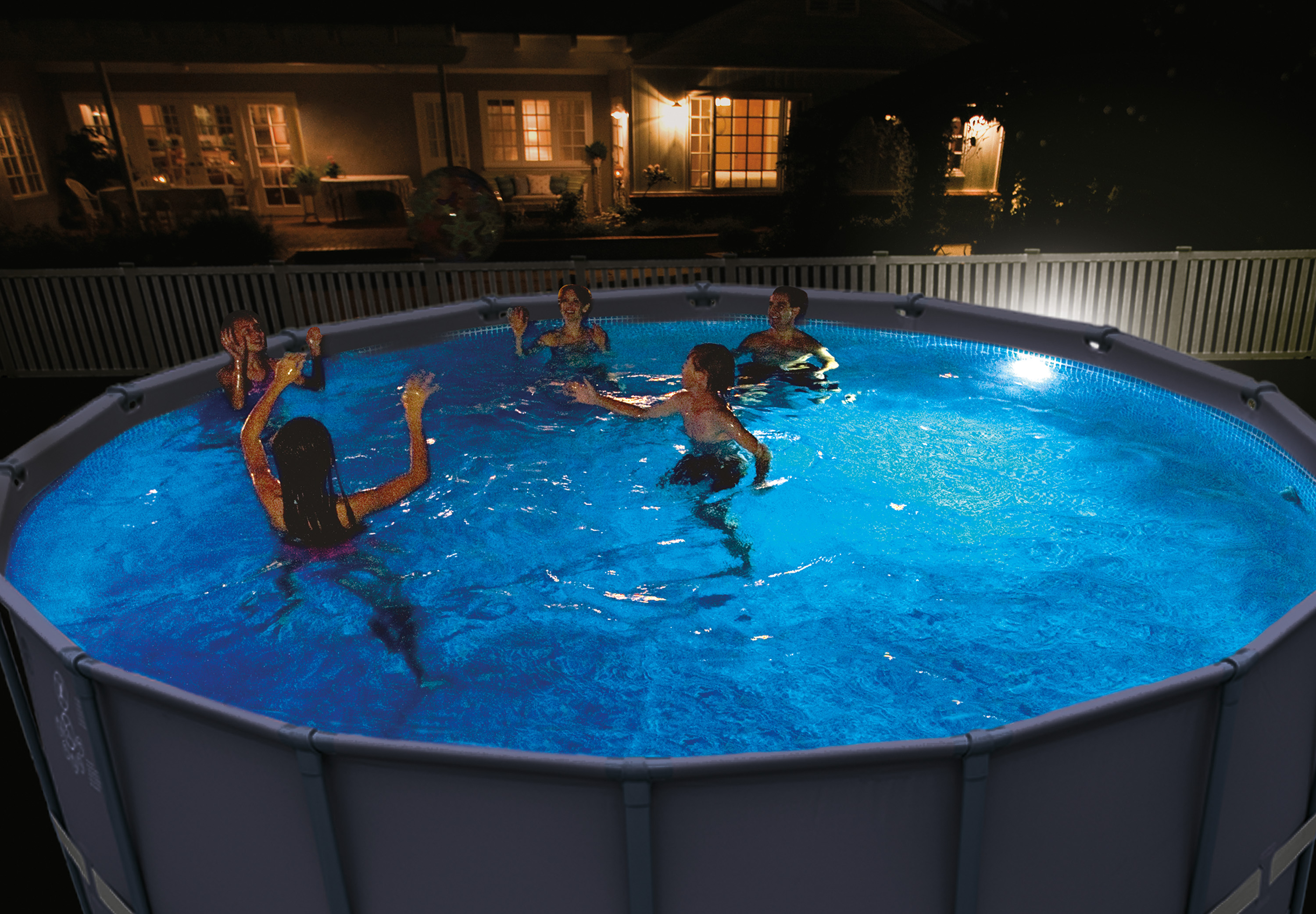 Details about Intex Magnetic LED Above Ground Swimming Pool Wall Multi  Color Light 28697E