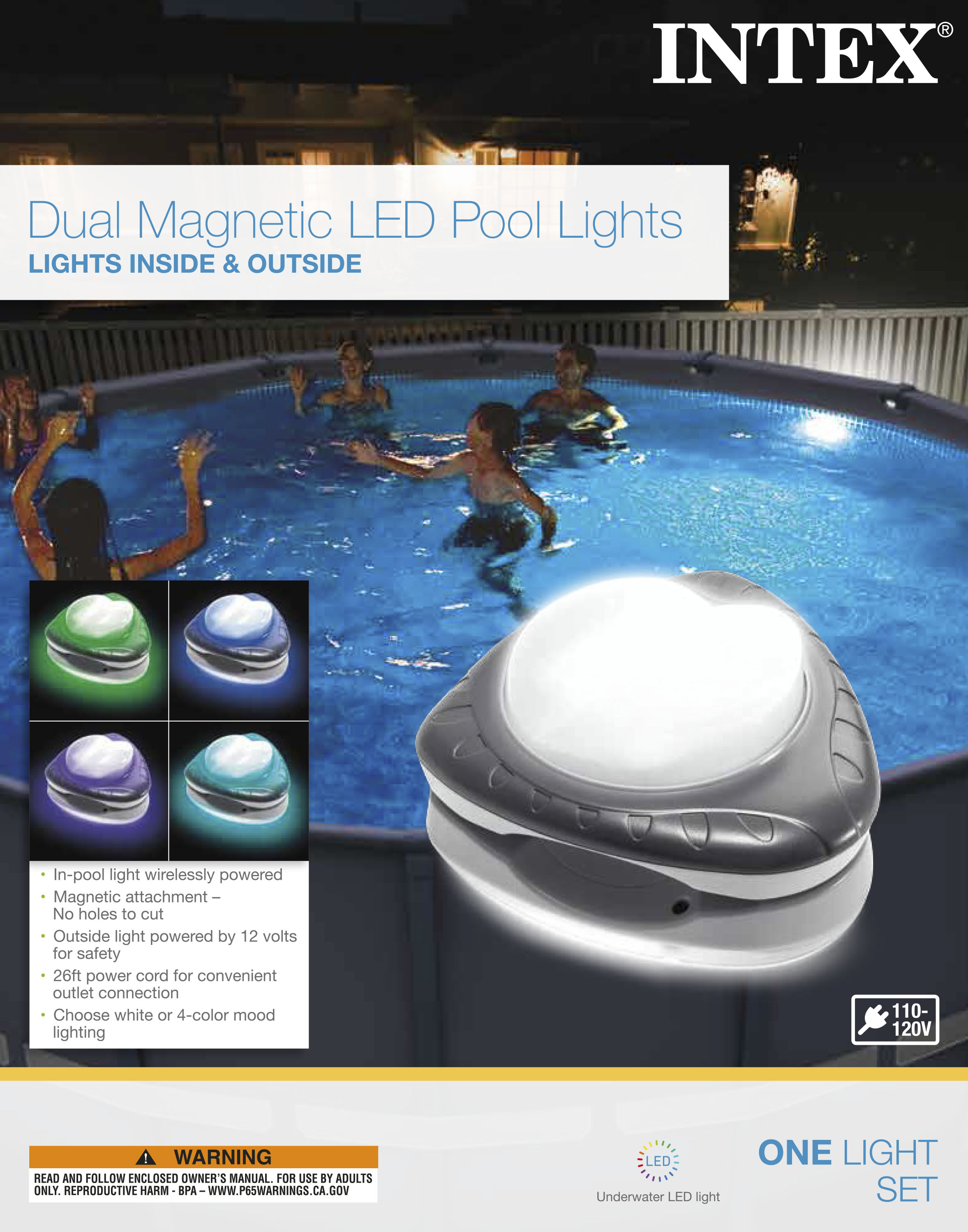 Intex Magnetic LED Above Ground Swimming Pool Wall Multi Color Light 28697E