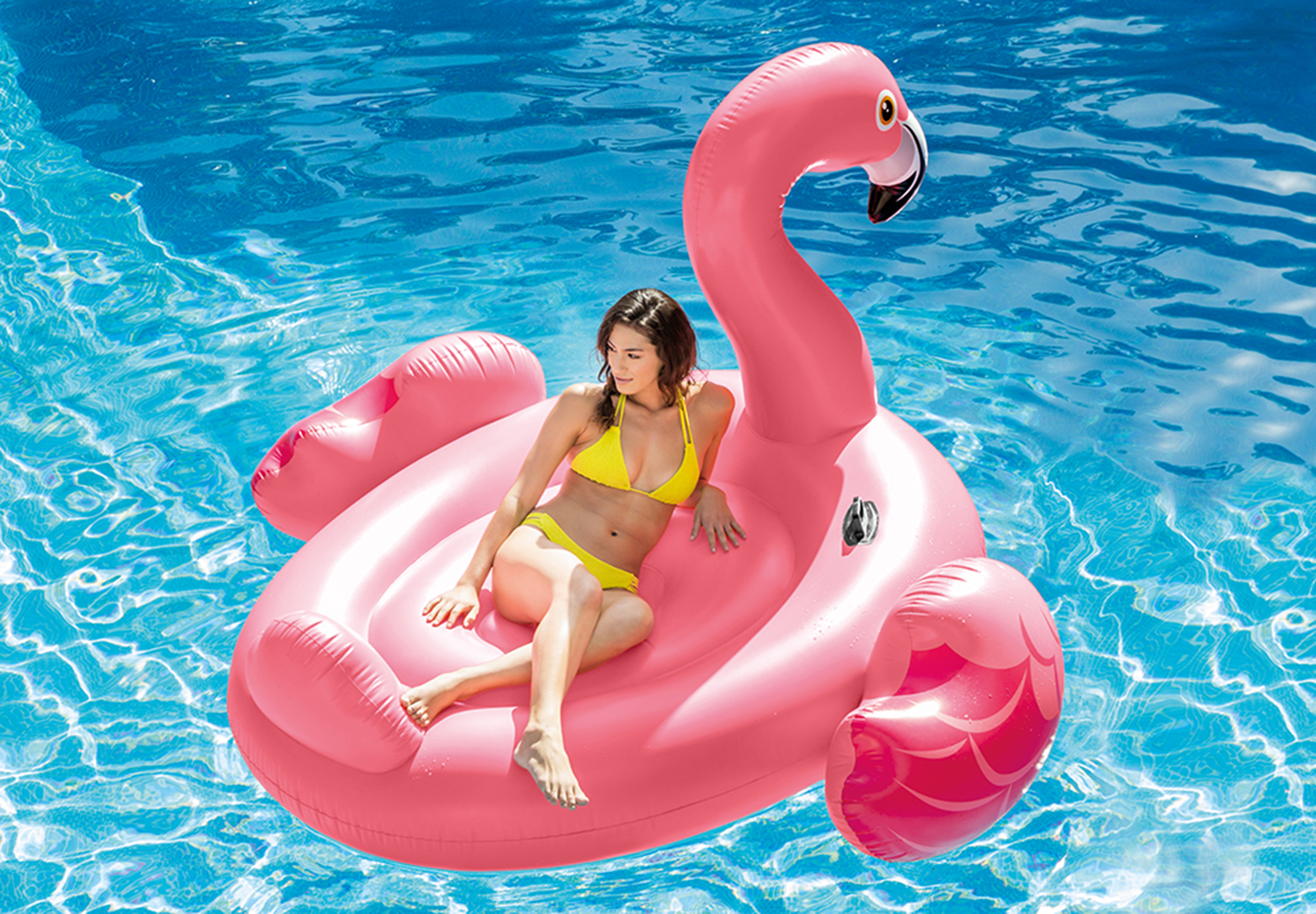 Intex Inflatable Ride On 86 Inch Mega Flamingo Island Pool
