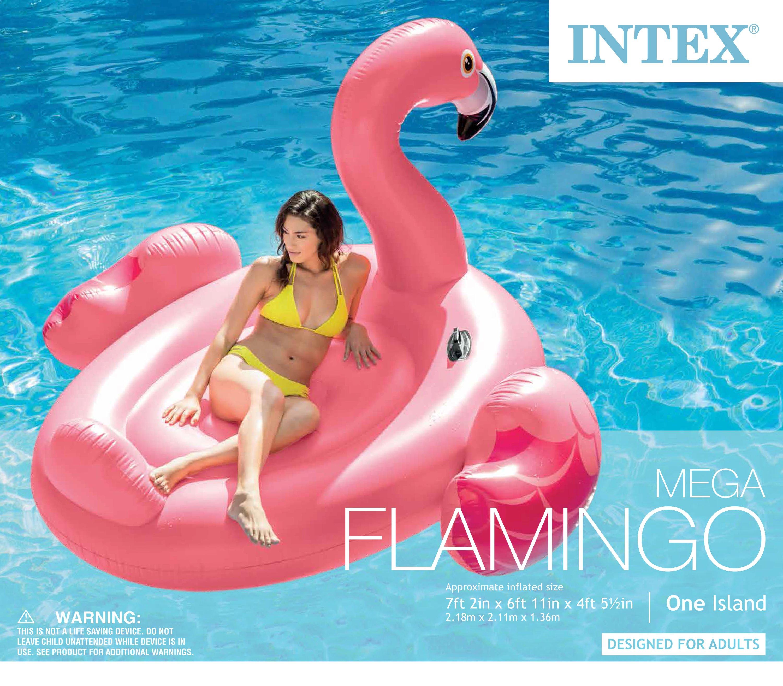 Intex Inflatable Ride On 86 Inch Mega Flamingo Island Pool