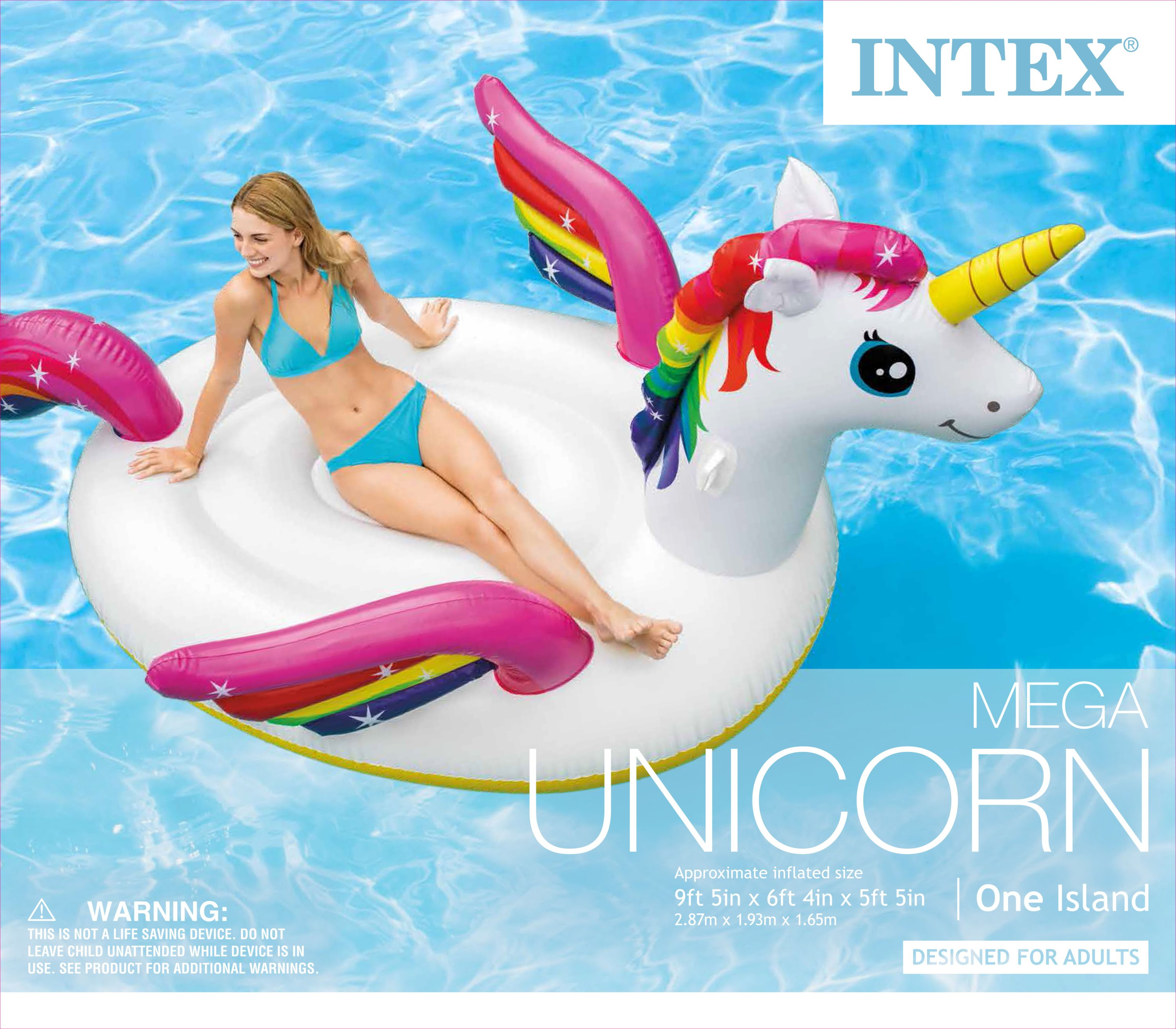 Intex Inflatable Ride On Mega Unicorn Island Pool Lounge