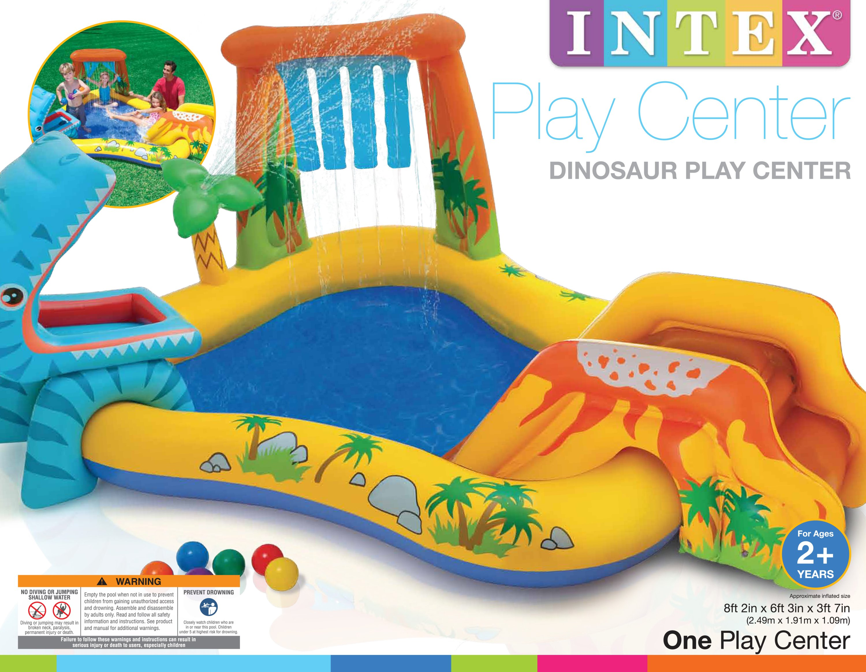 Intex Dinosaur Play Center Inflatable Kids Set Swimming