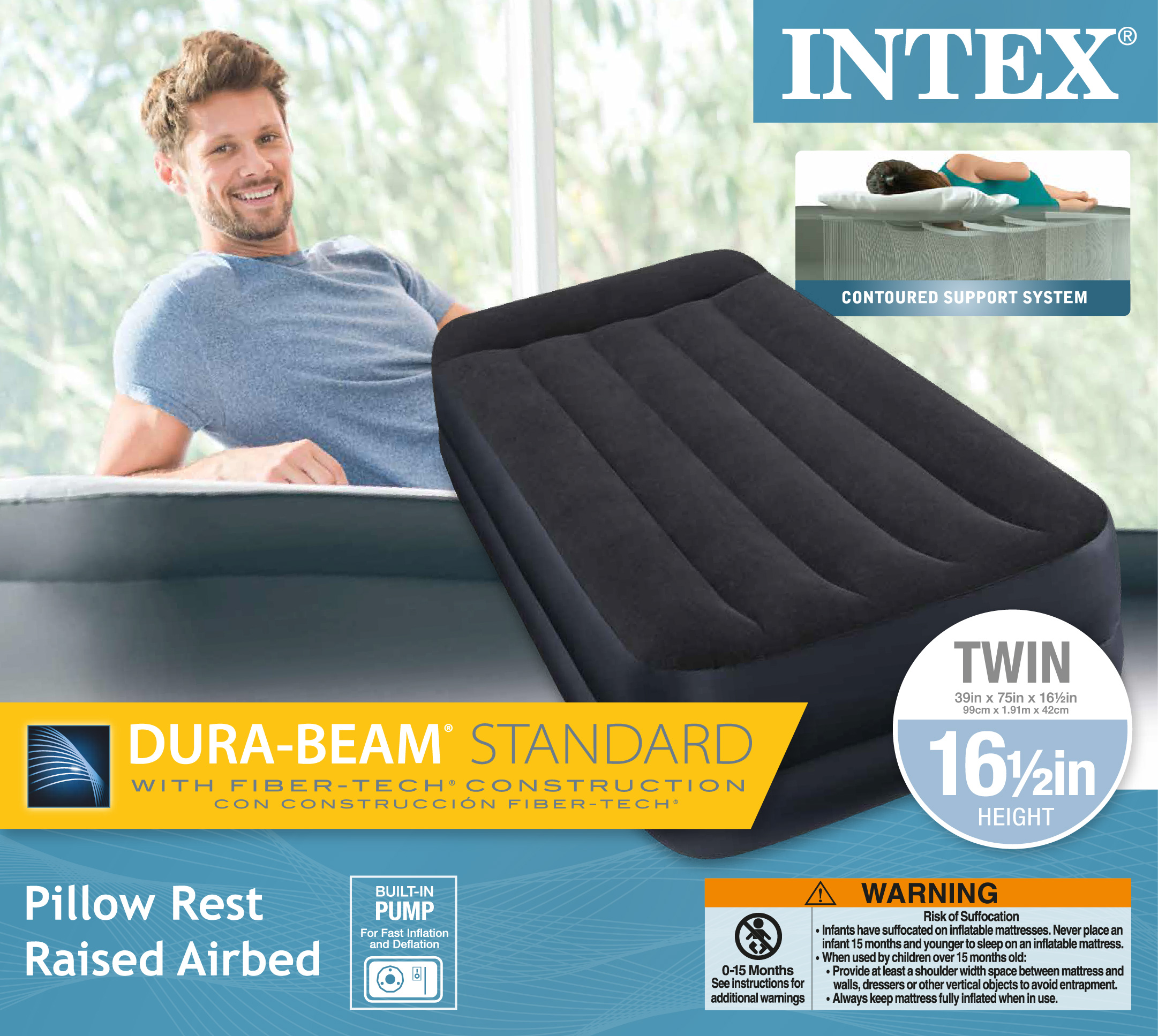 Intex Twin Pillow Rest Fiber Tech Airbed Air Mattress Bed