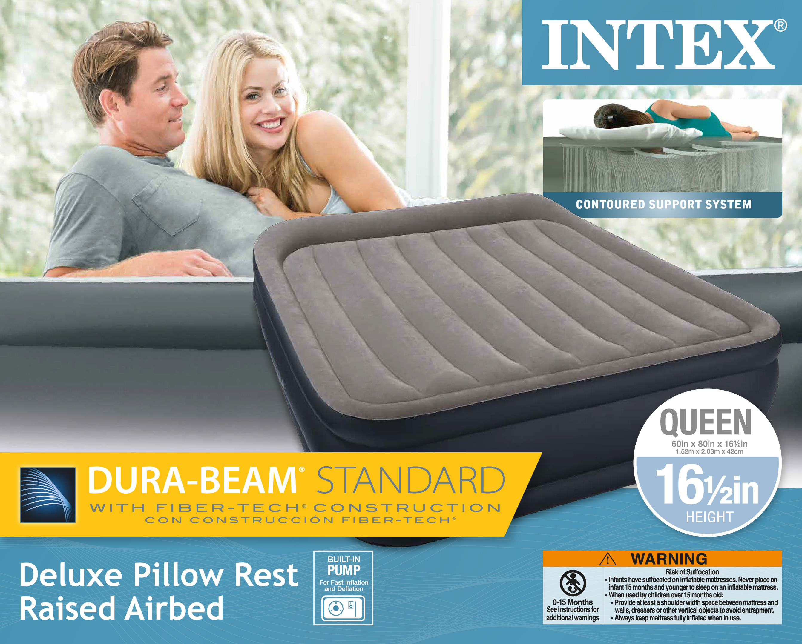 Intex Queen Deluxe Pillow Rest Raised Airbed Air Mattress