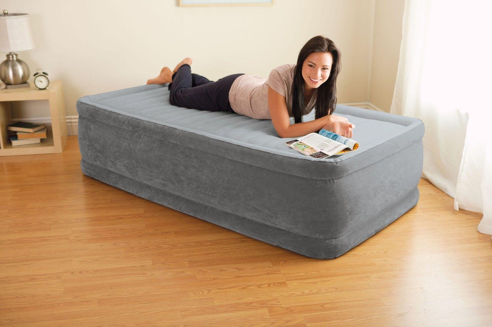Intex Twin Raised Airbed Comfort Plush Dura Beam Air Bed