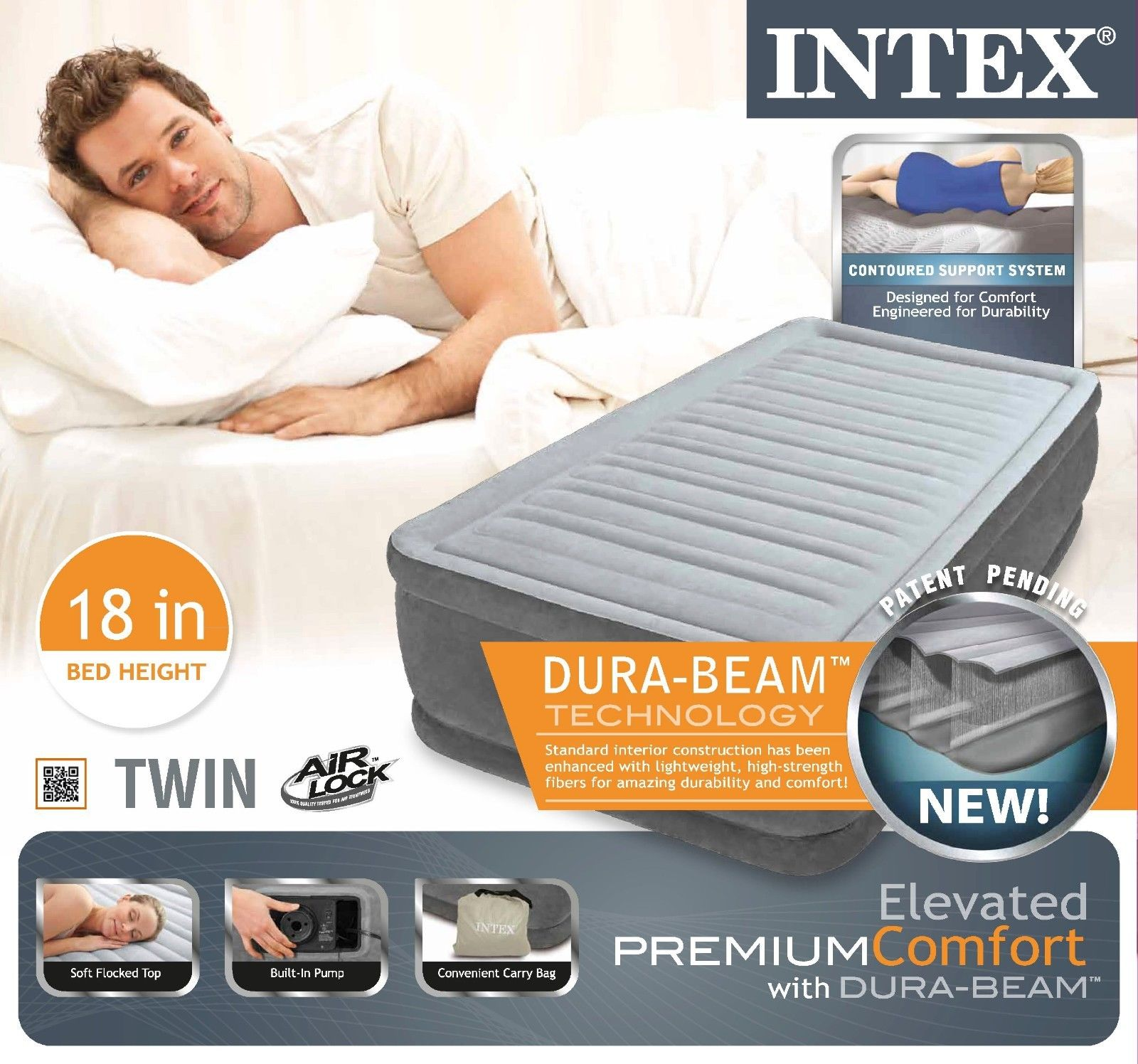 Intex Twin Raised Airbed Comfort Plush Dura Beam Air Bed ...