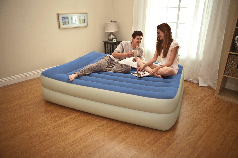 Intex Queen Pillow Rest Raised Airbed Air Mattress Guest