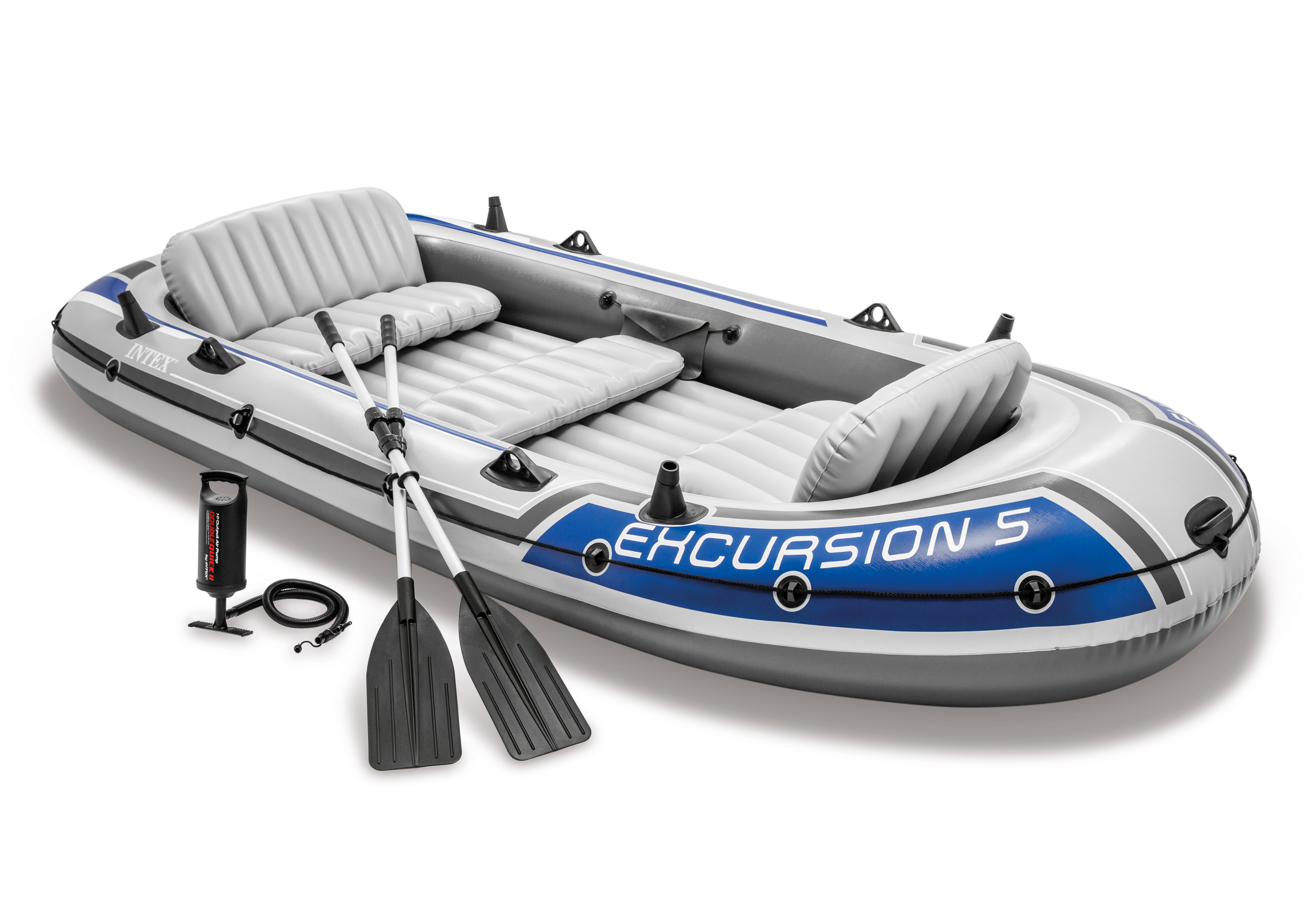 Intex Excursion 5 Person Inflatable Boat Set Raft Dinghy with Oars Pump 68325EP | eBay