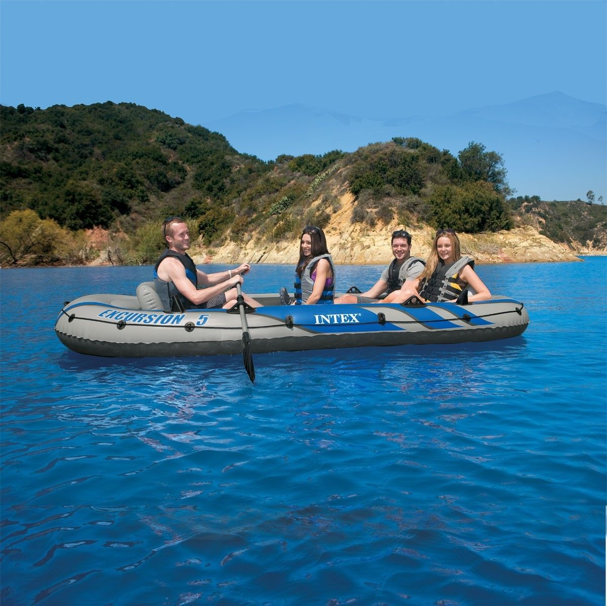 Intex Excursion 5 5 Person Inflatable Boat Set With Aluminum Oars And High O 733281566506 Ebay