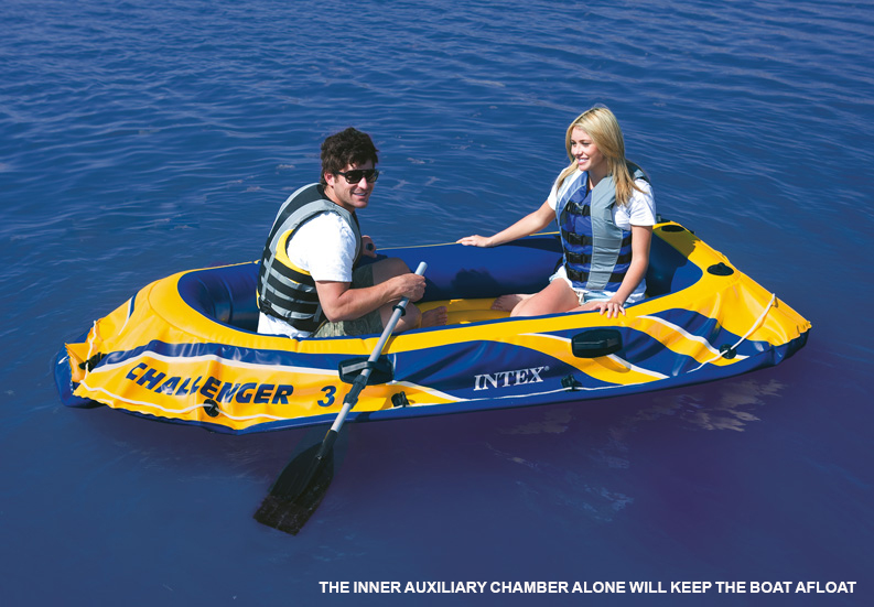 Intex Challenger 3 Inflatable Boat Set With Pump Amp Oars