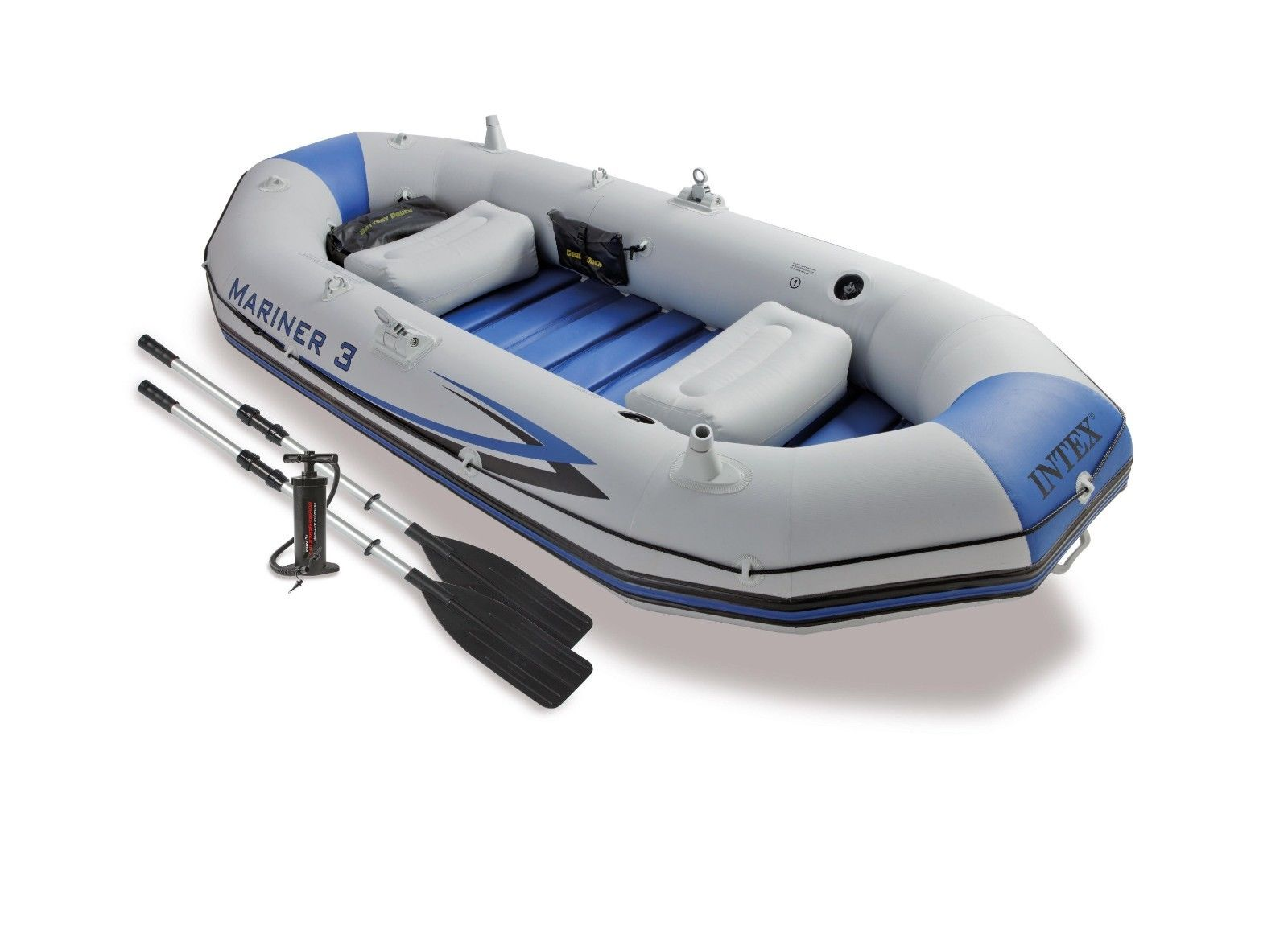 Details about Intex Mariner 3 Inflatable Raft River Lake Dinghy Boat & Oars  Set 68373EP