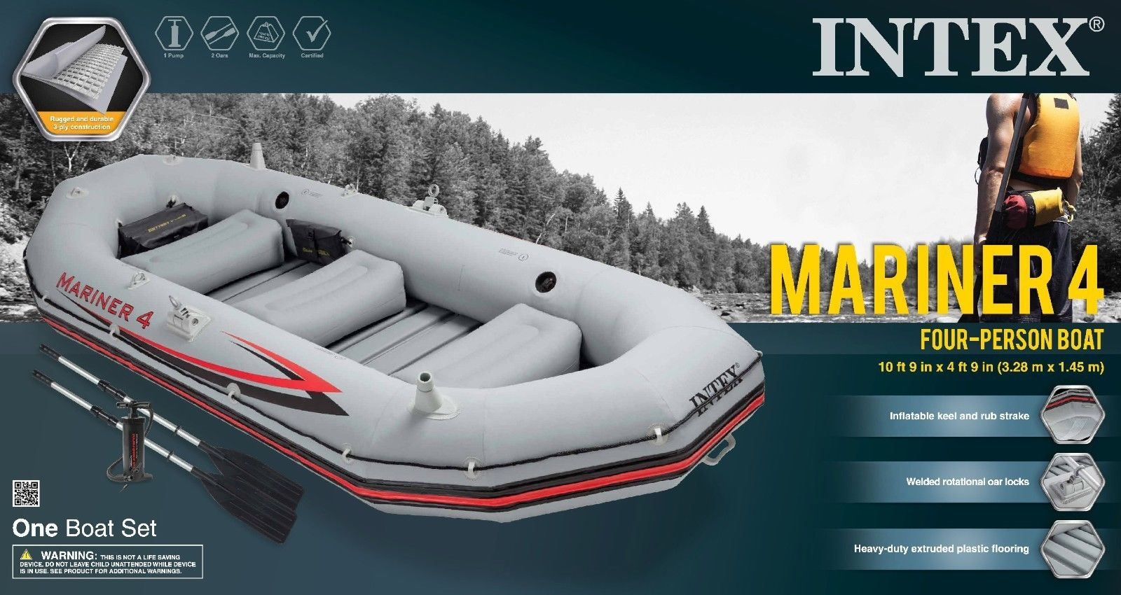 Intex Mariner 4 Inflatable Raft River Lake Dinghy Boat & Oars Set 68376EP  New