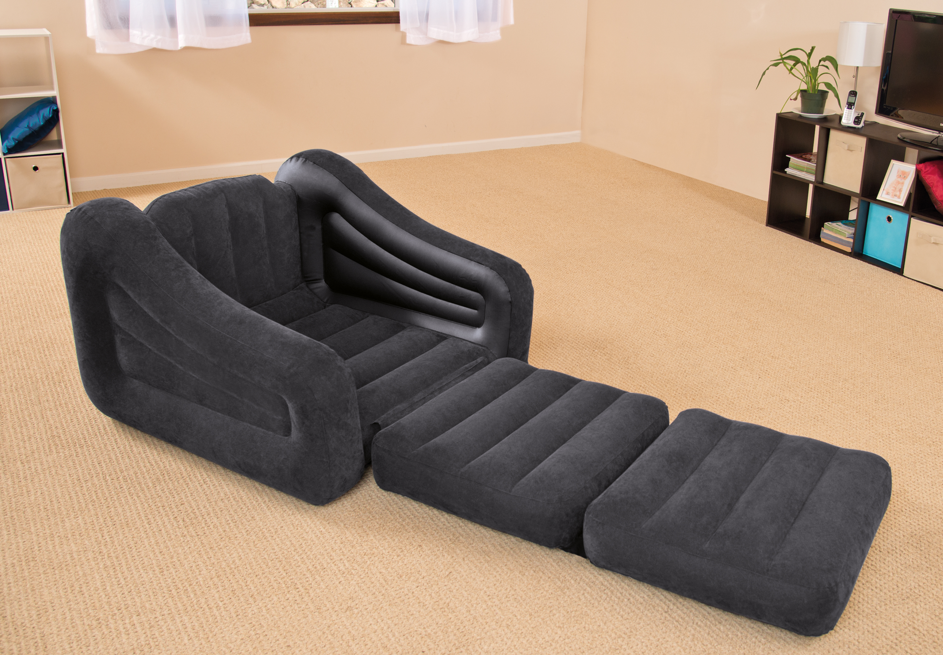 Intex Inflatable Air Chair with Pull Out Twin Bed Mattress  : 68565ep2 from www.ebay.com size 3000 x 2084 jpeg 3664kB