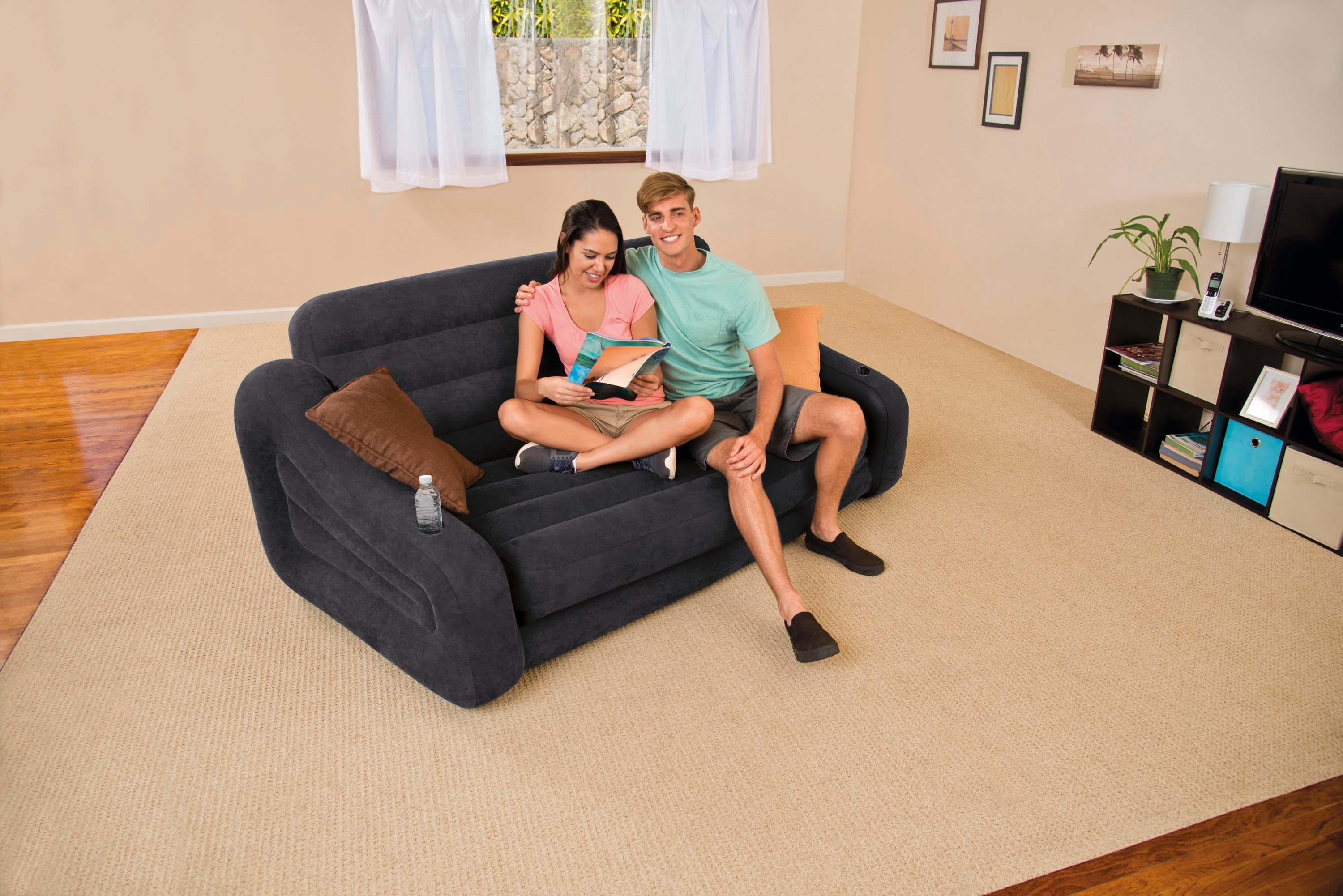 Intex Inflatable Air Sofa With Pull Out Queen Bed Mattress