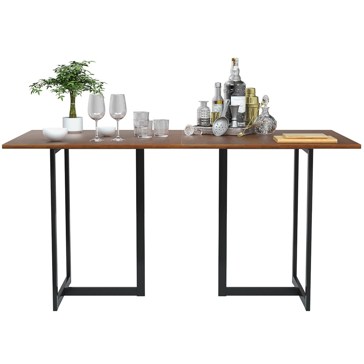 Rectangular Dining Table w/ Wooden Top Metal Frame Kitchen D