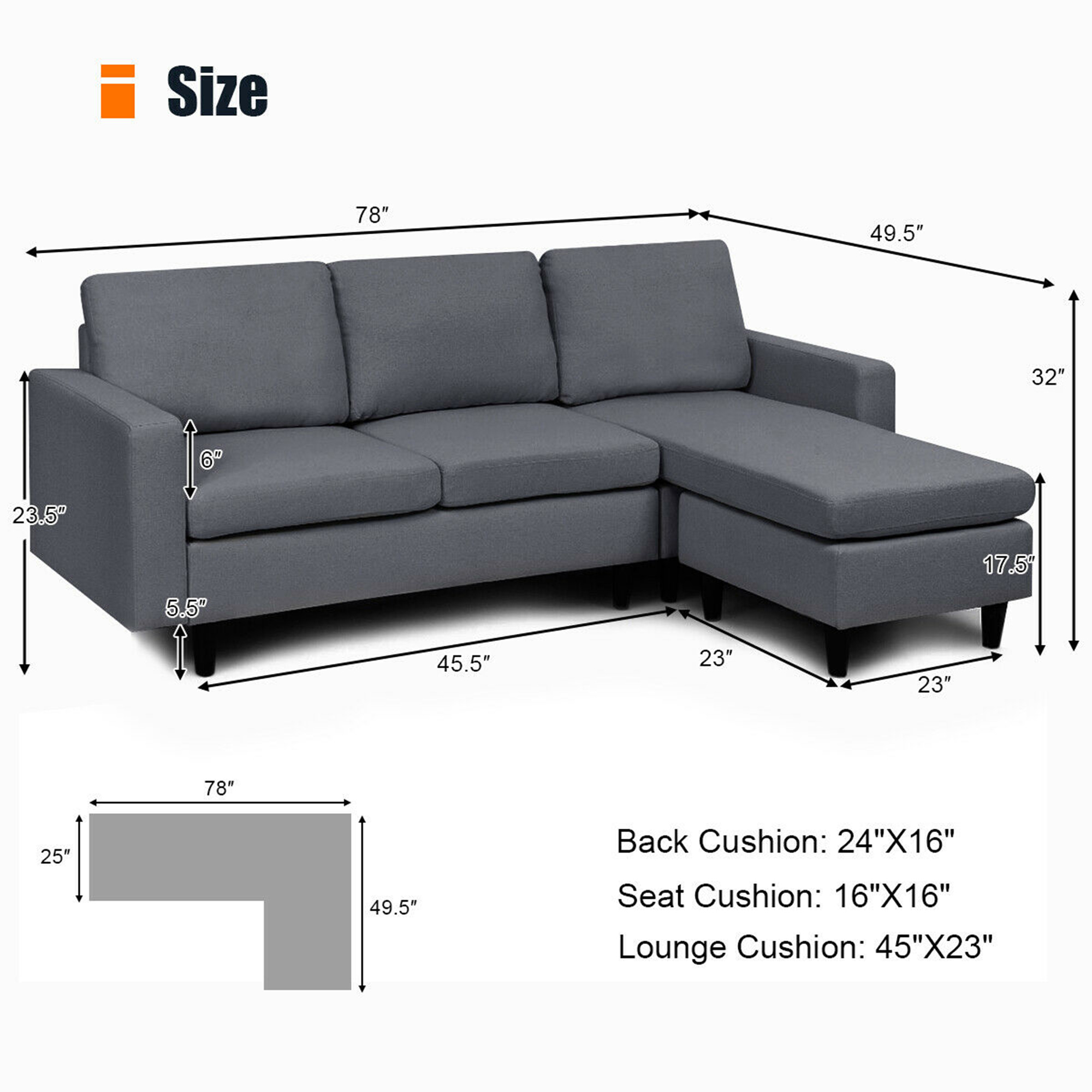 Convertible L-shaped Sectional Sofa Couch w/ Massage Back Cu