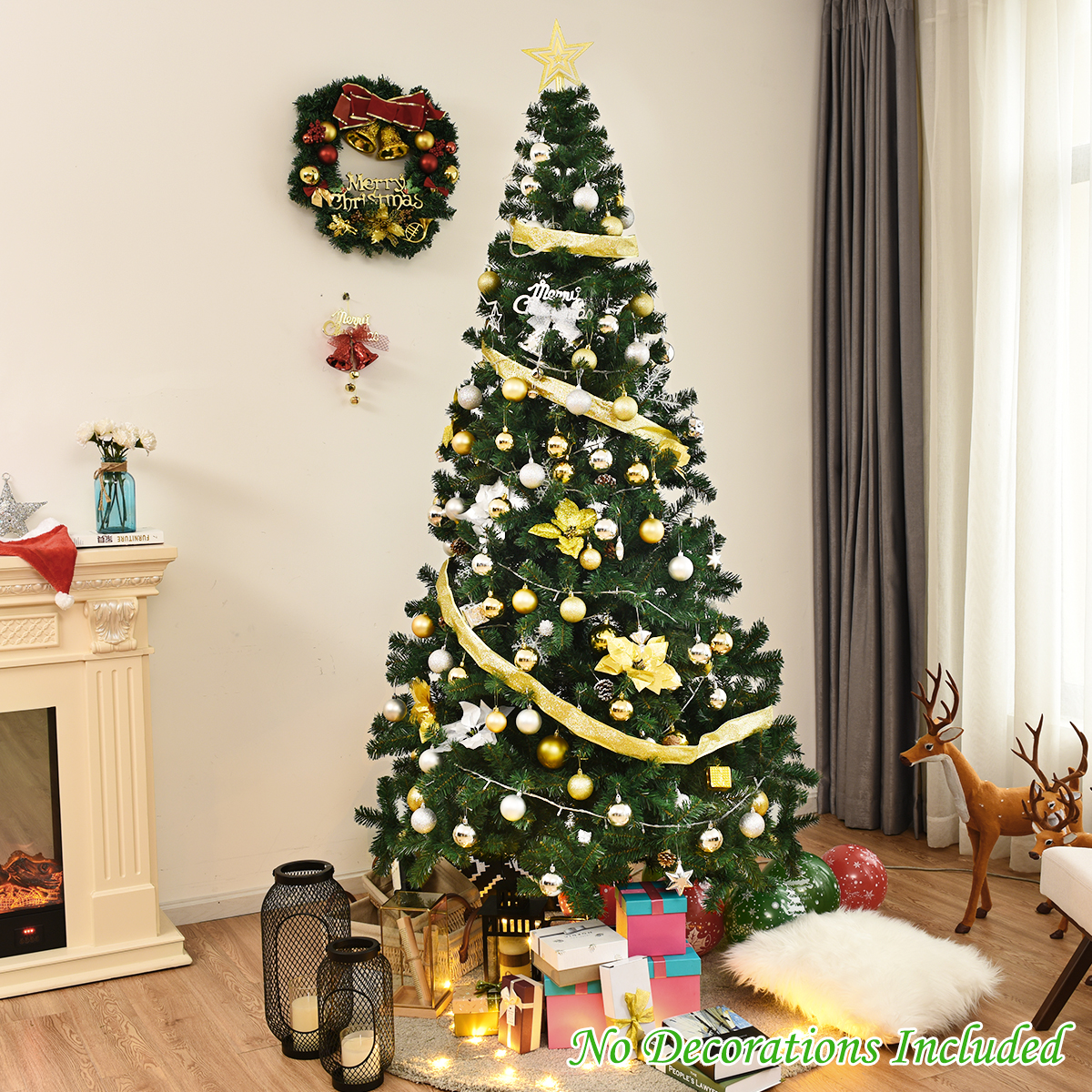 8' Green Holiday Season Artificial PVC Christmas Tree Indoor Outdoor Stand   eBay