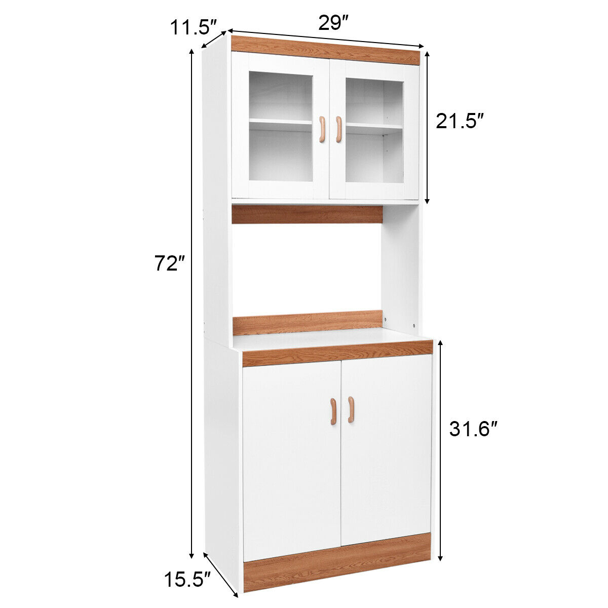 Tall Microwave Cart Stand Kitchen Storage Cabinet Shelves ...