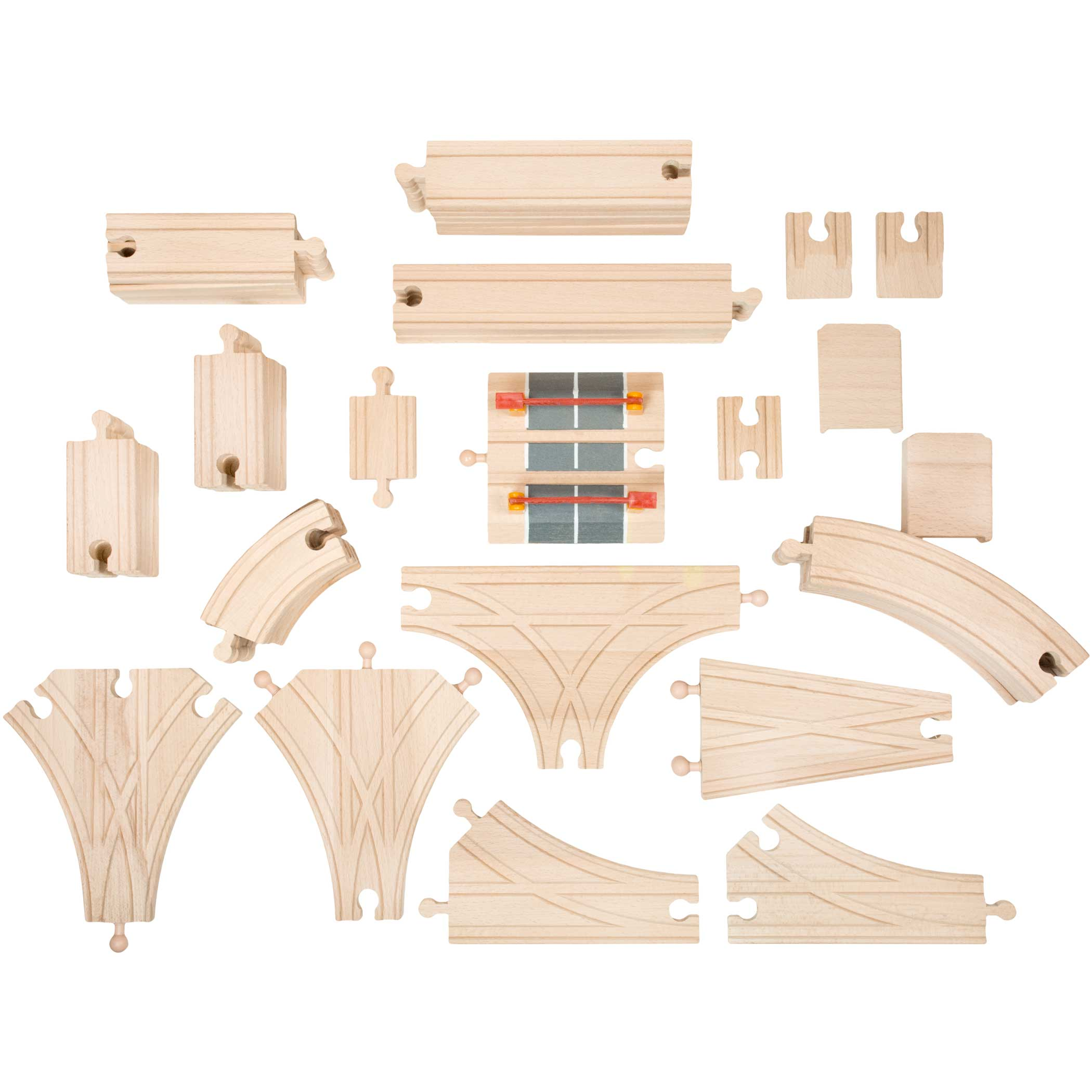 playbees wooden train track toy set 59 pieces compatible w other train sets ebay. Black Bedroom Furniture Sets. Home Design Ideas