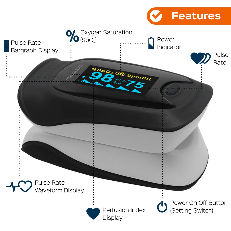 Measupro Ox200 Instant Read Finger Pulse Oximeter Blood