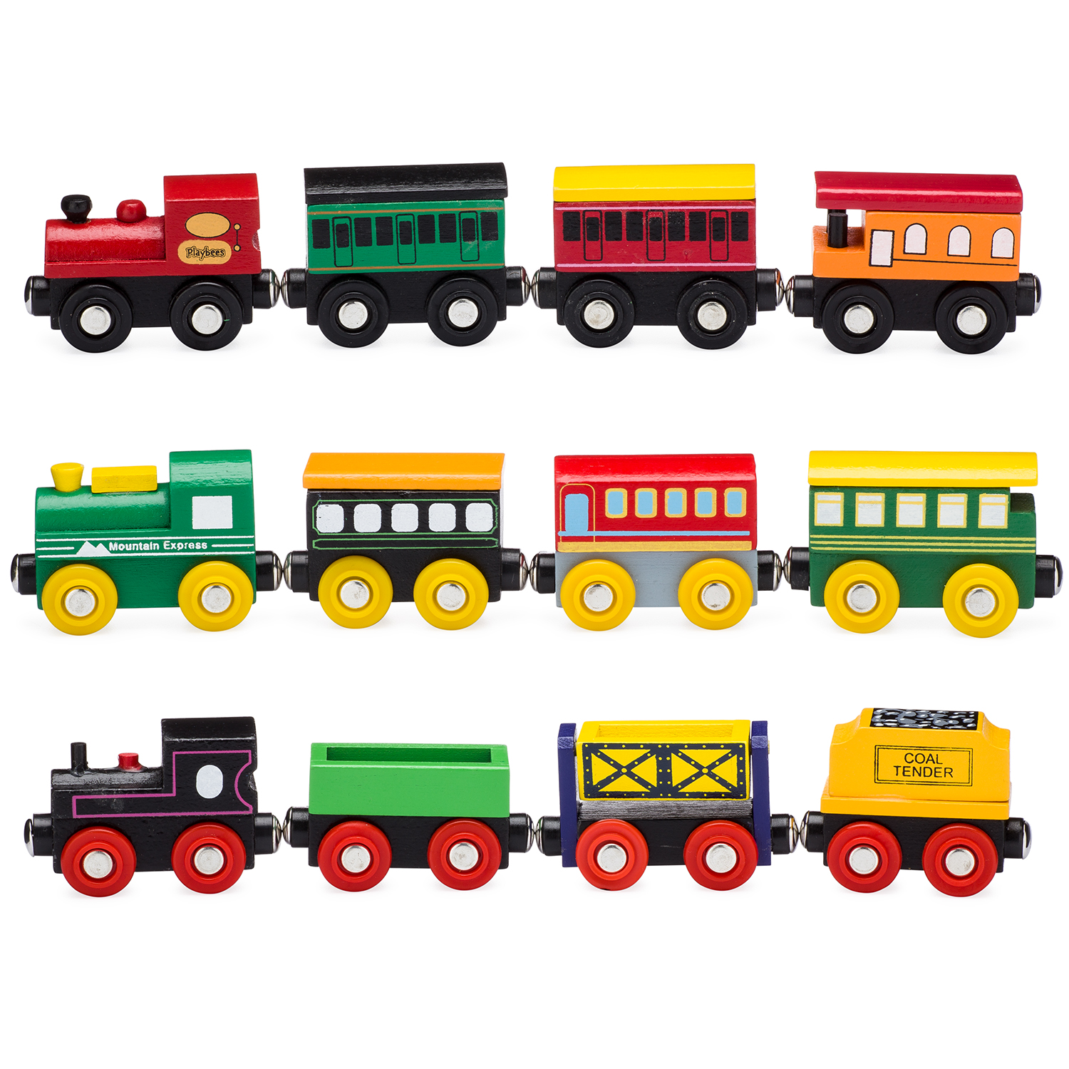 Cool Toy Train Cars : Playbees piece wooden toy train cars engine set