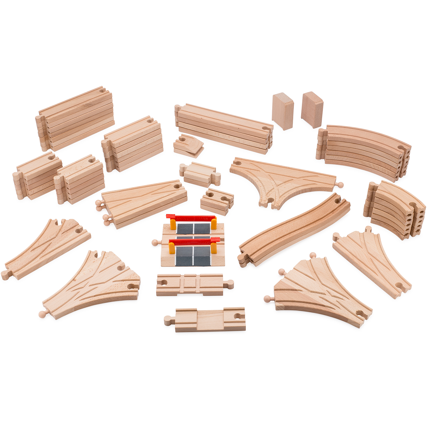 playbees wooden train track toy set 59 pieces compatible w brio thomas. Black Bedroom Furniture Sets. Home Design Ideas