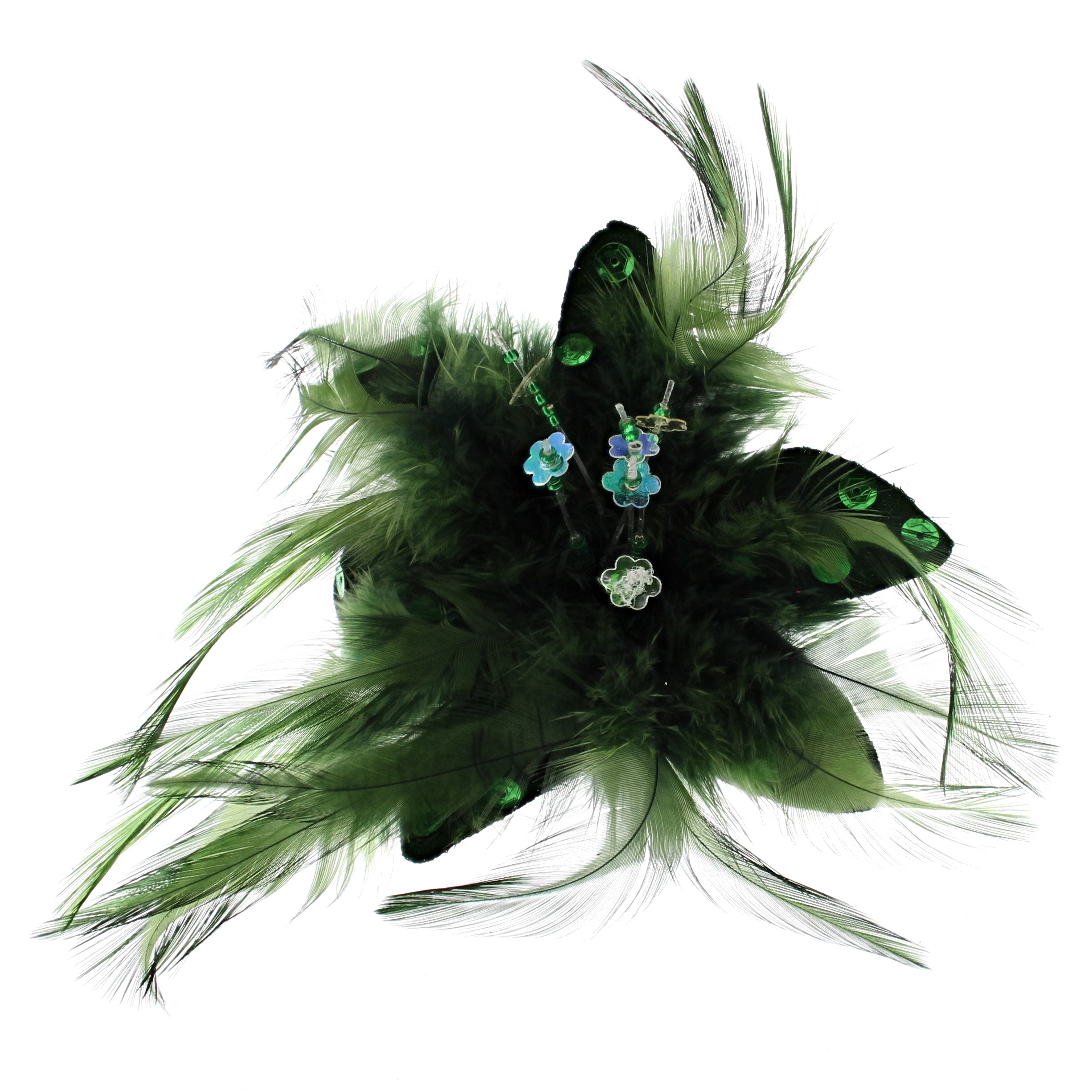 4d9562965 Details about Zac's Alter Ego® Fur, Feathers & Sequins Fascinator/Flower on  Clip & Brooch Pin