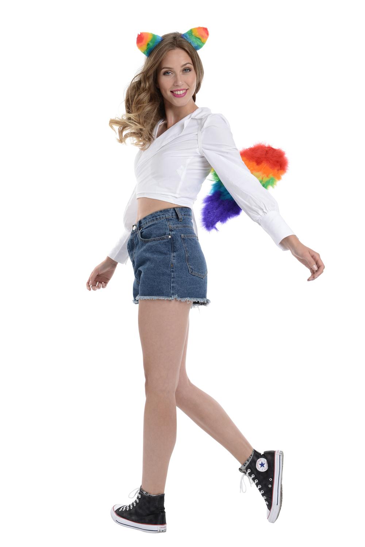 Preciso Zac L'alter Ego Costume Festival Gay Pride Arcobaleno Wings & Gatto Set Fascia Per Capelli-mostra Il Titolo Originale Vendita Calda Di Prodotti