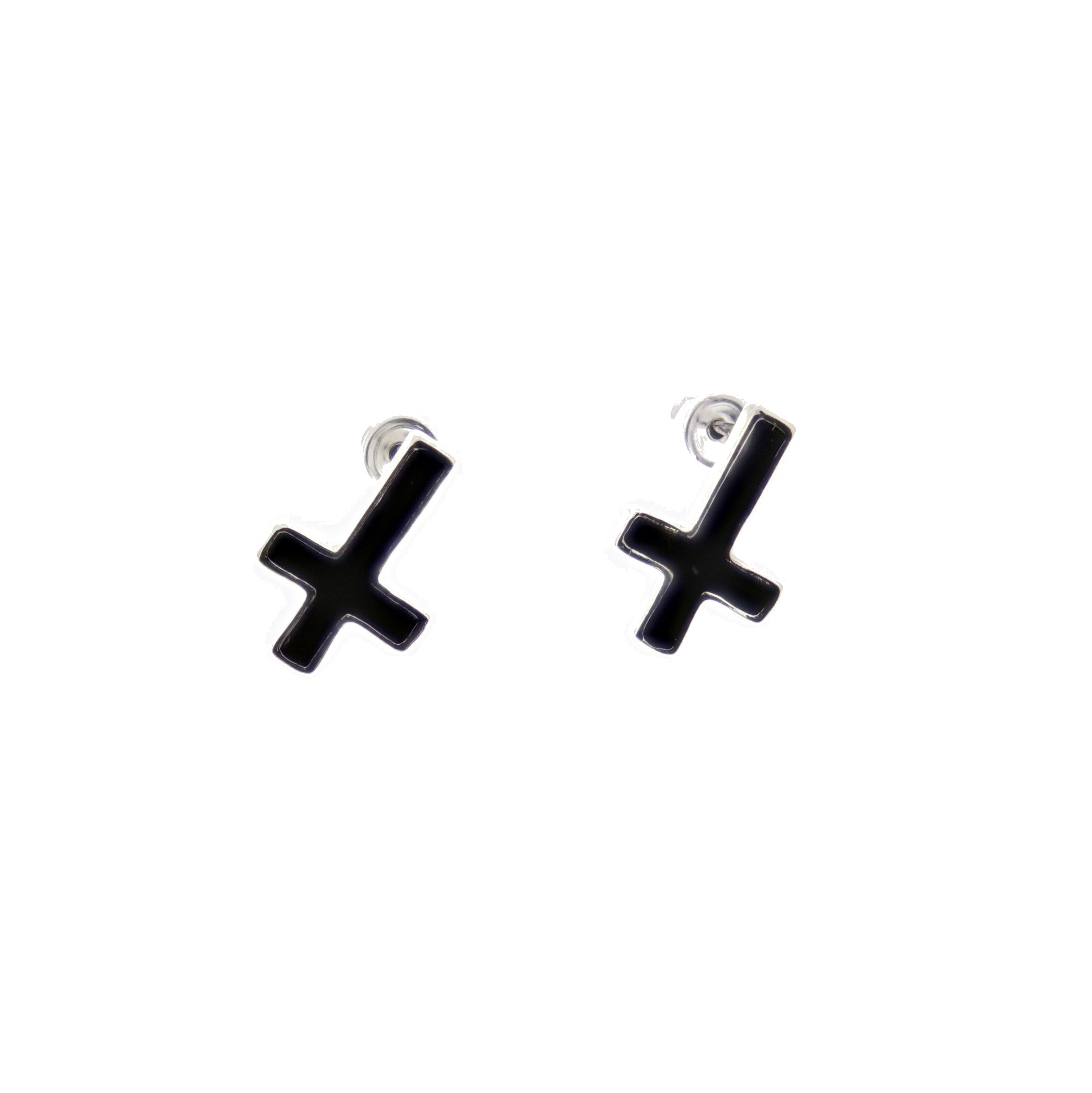 Zacs alter ego upside down black cross stud earrings ebay zacs alter ego upside down black cross stud earrings buycottarizona