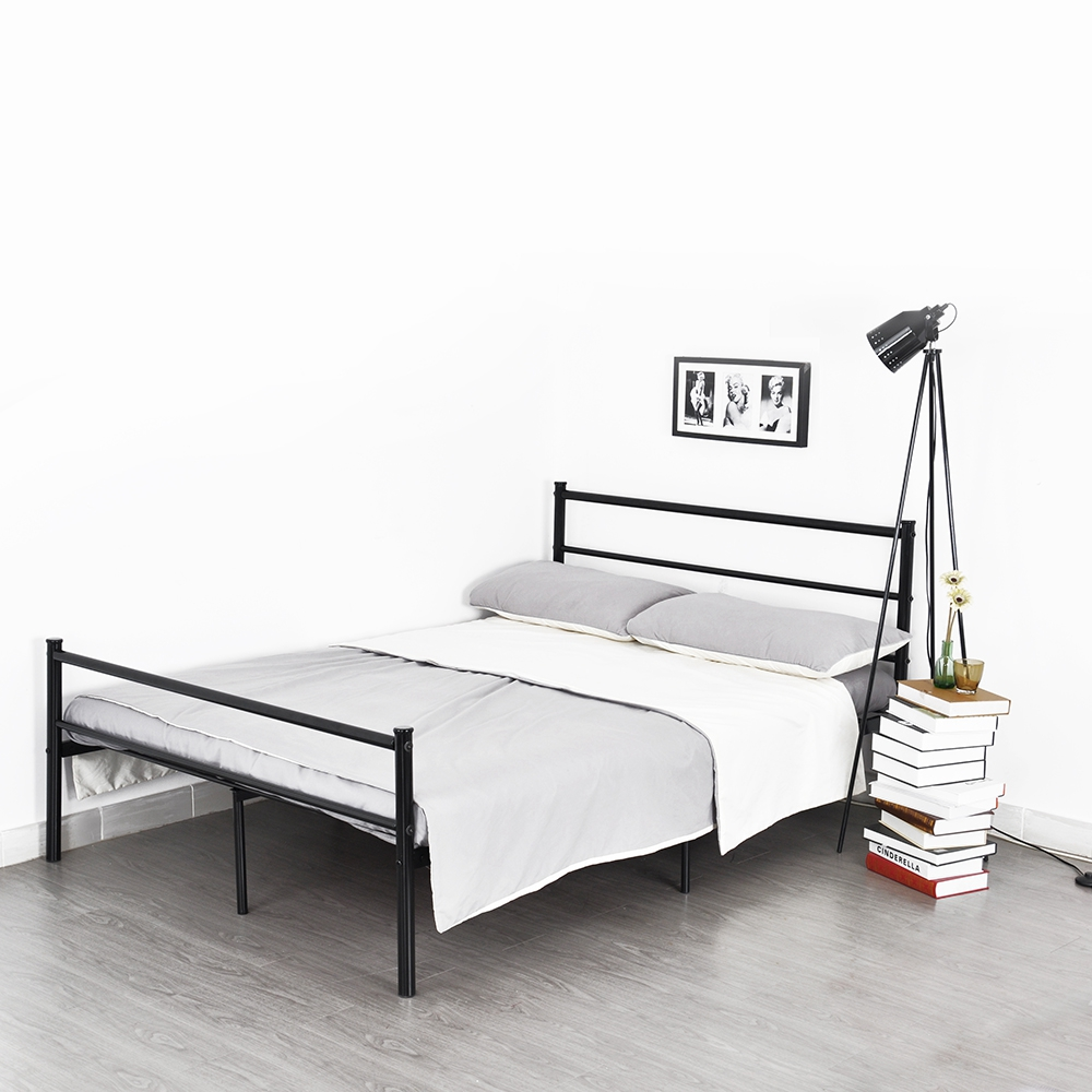 Platform metal bed frame foundation headboard furniture for Full size bed frame