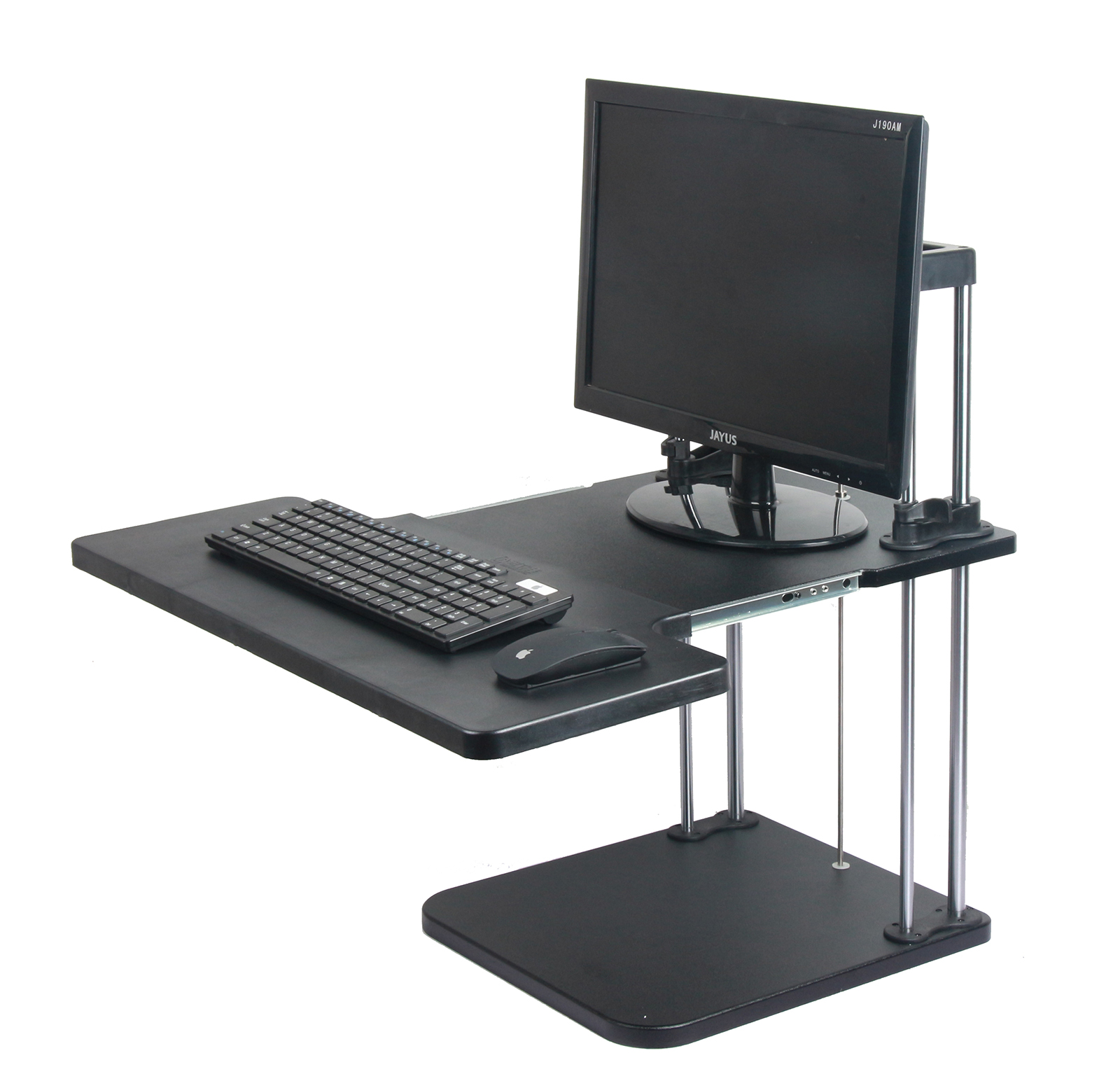 height width adjustable computer standing desk sit stand up desk 2 layers. Black Bedroom Furniture Sets. Home Design Ideas