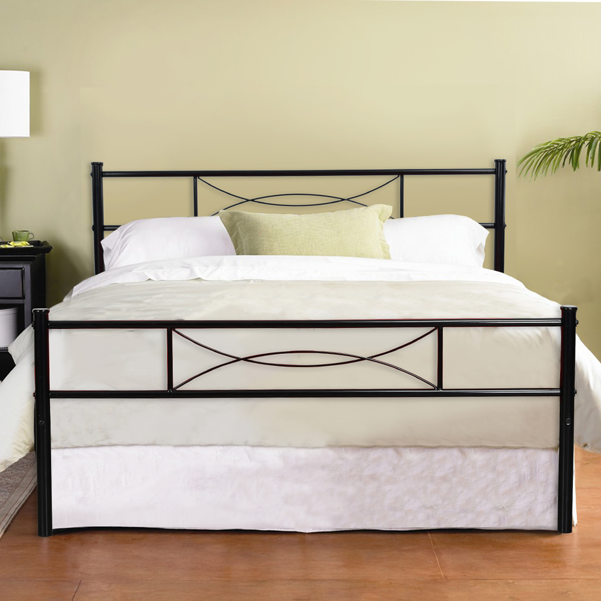 Platform metal bed frame foundation headboard furniture for Twin bed frame