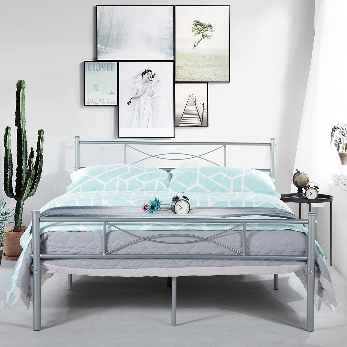 Full Twin Size Bedroom Metal Bed Frame Platform Mattress