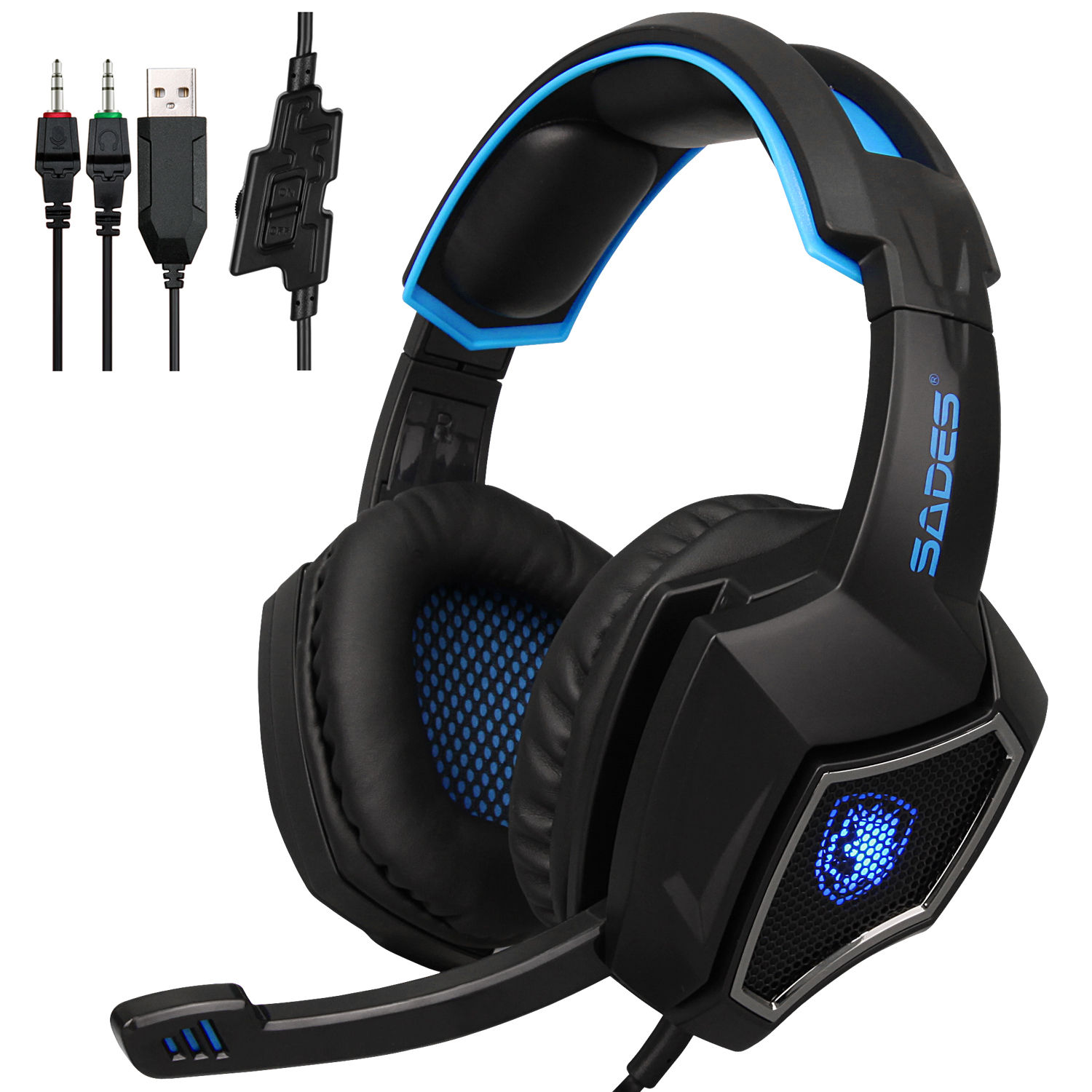 sades spirit wolf gaming headset wired stereo deep bass headphone with mic ebay. Black Bedroom Furniture Sets. Home Design Ideas
