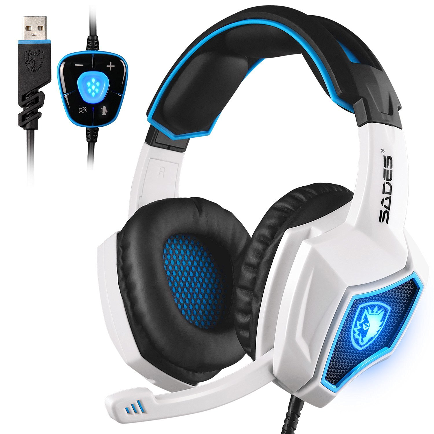SADES Spirit Wolf 7.1 Surround Sound Stereo USB Gaming Headset with MIC 3xColors | eBay