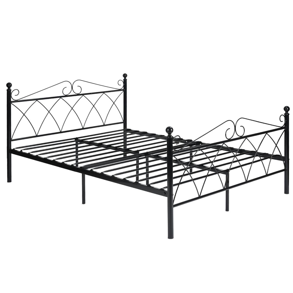 full size bedroom metal bed frame platform headboards w 10. Black Bedroom Furniture Sets. Home Design Ideas