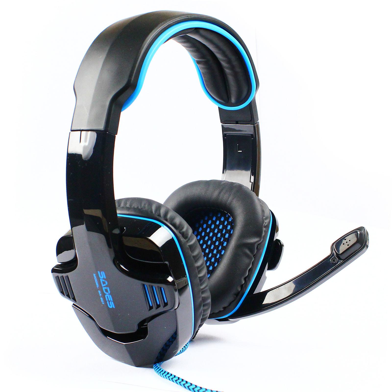 sades stereo 7 1 surround headset usb headband pc laptop pro gaming microphone. Black Bedroom Furniture Sets. Home Design Ideas