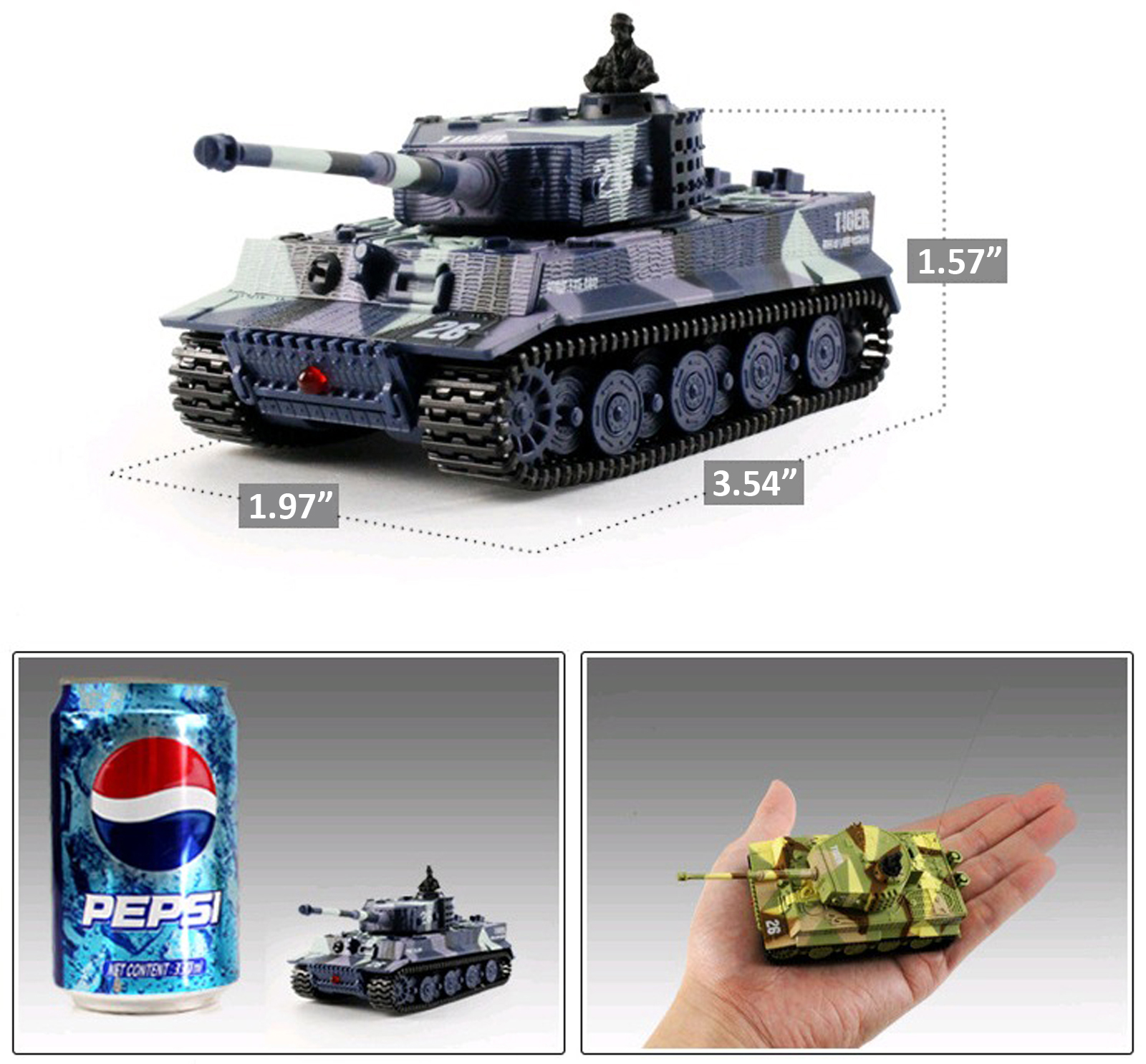 1:72 Radio Remote Control Battle Tank Mini RC German Tiger ...